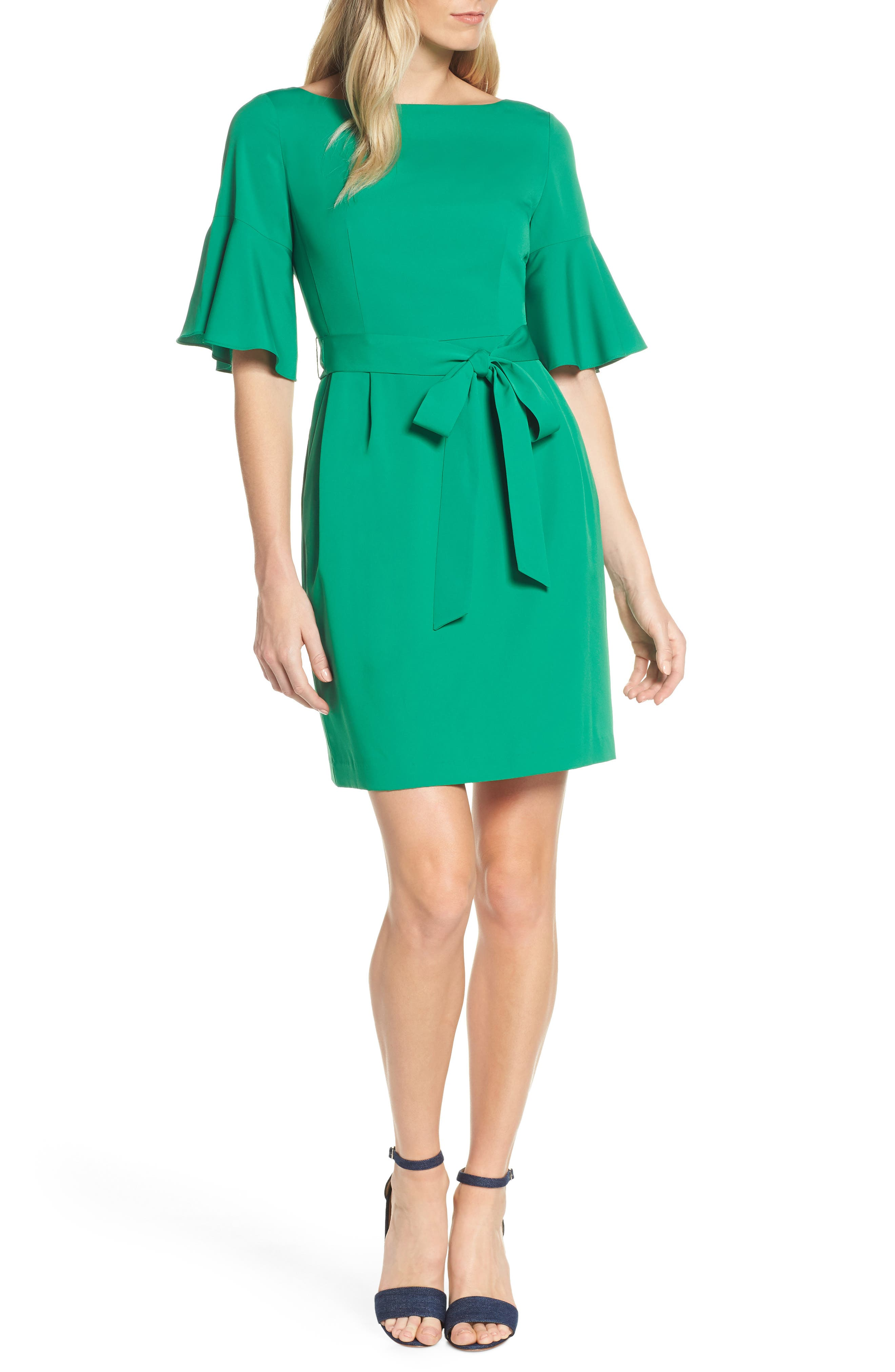 ELIZA J, Bell Sleeve Sheath Dress, Alternate thumbnail 6, color, GREEN