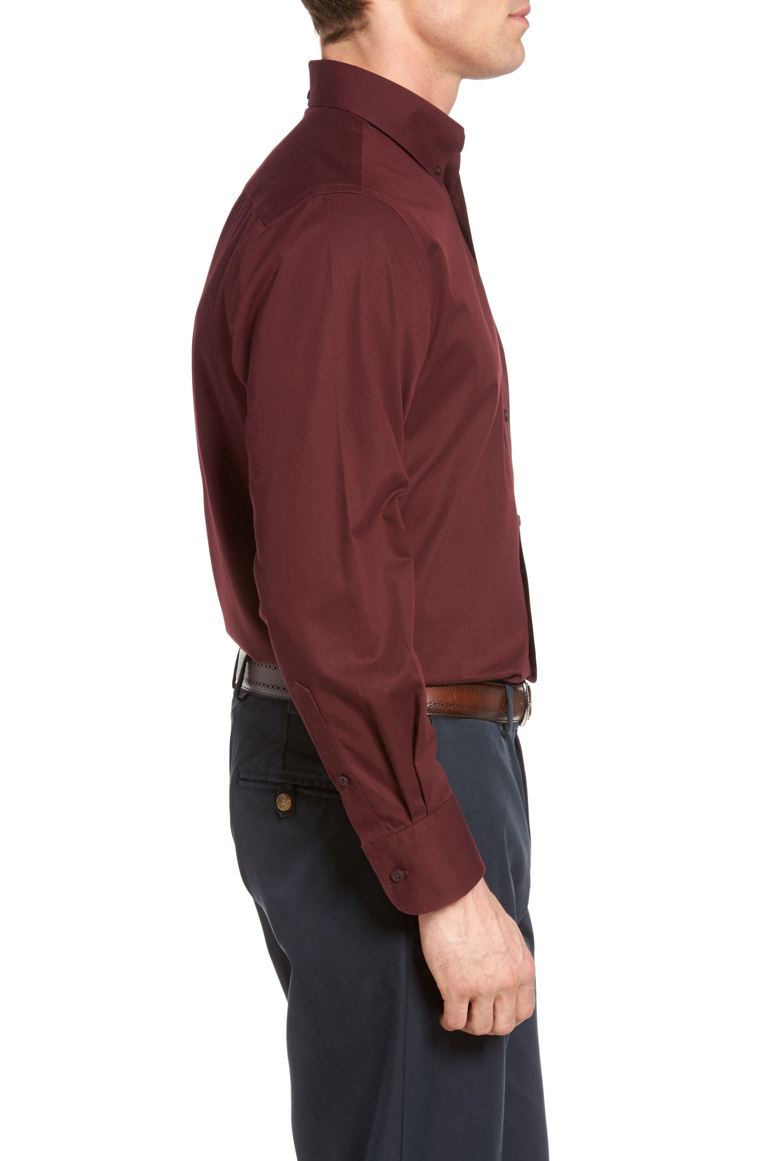 NORDSTROM MEN'S SHOP, Smartcare<sup>™</sup> Traditional Fit Twill Boat Shirt, Alternate thumbnail 3, color, BURGUNDY ROYALE