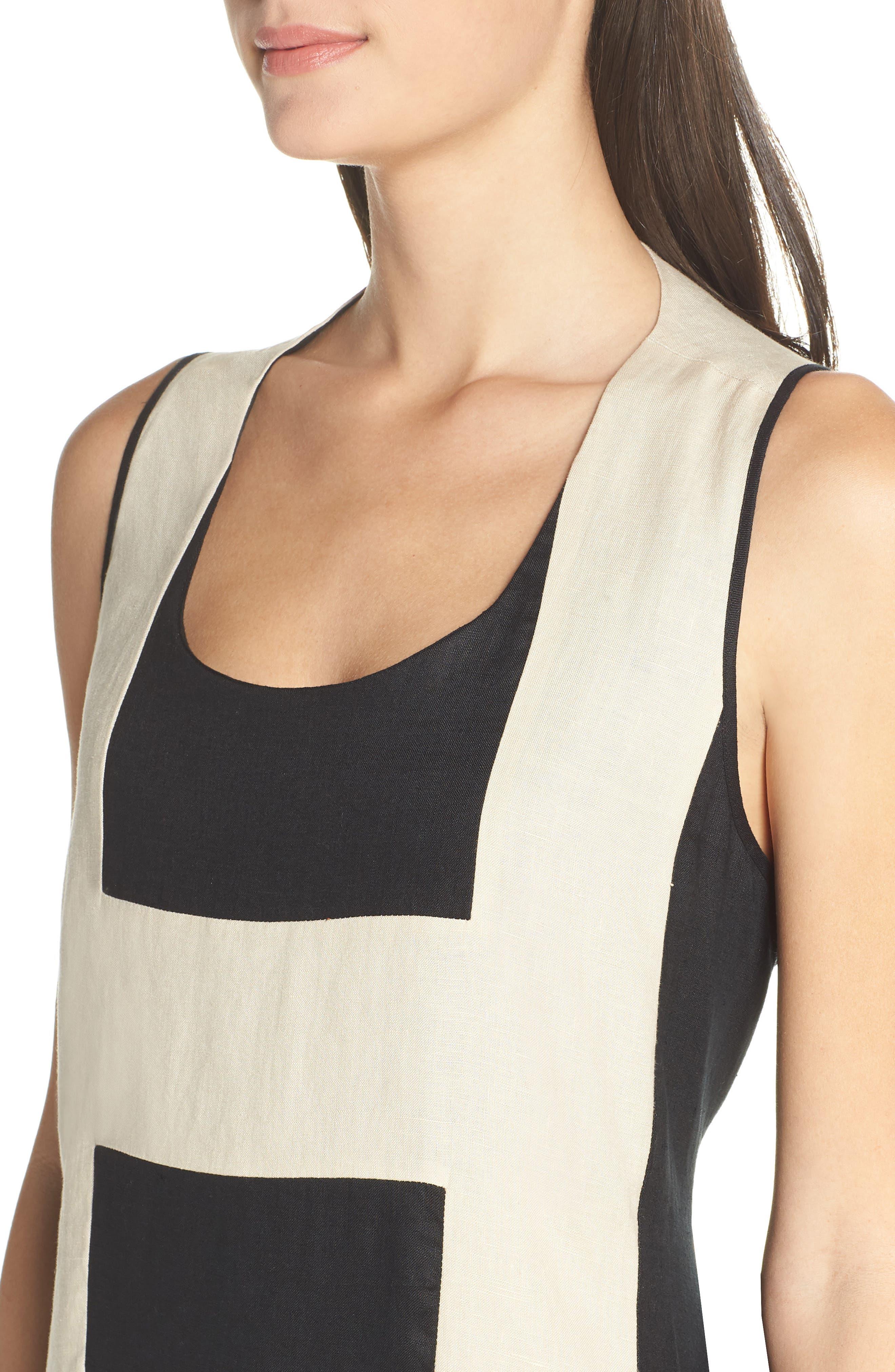 CAARA, Betha Colorblock Tie Back Dress, Alternate thumbnail 5, color, 001