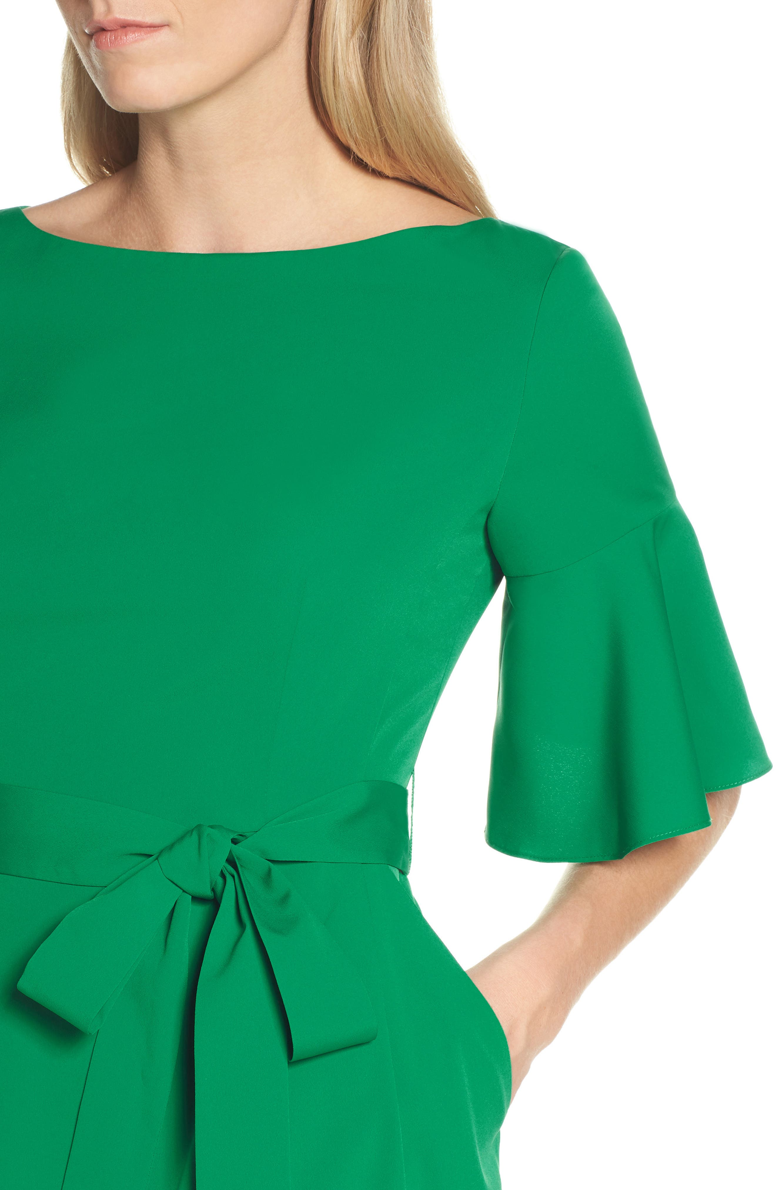 ELIZA J, Bell Sleeve Sheath Dress, Alternate thumbnail 5, color, GREEN