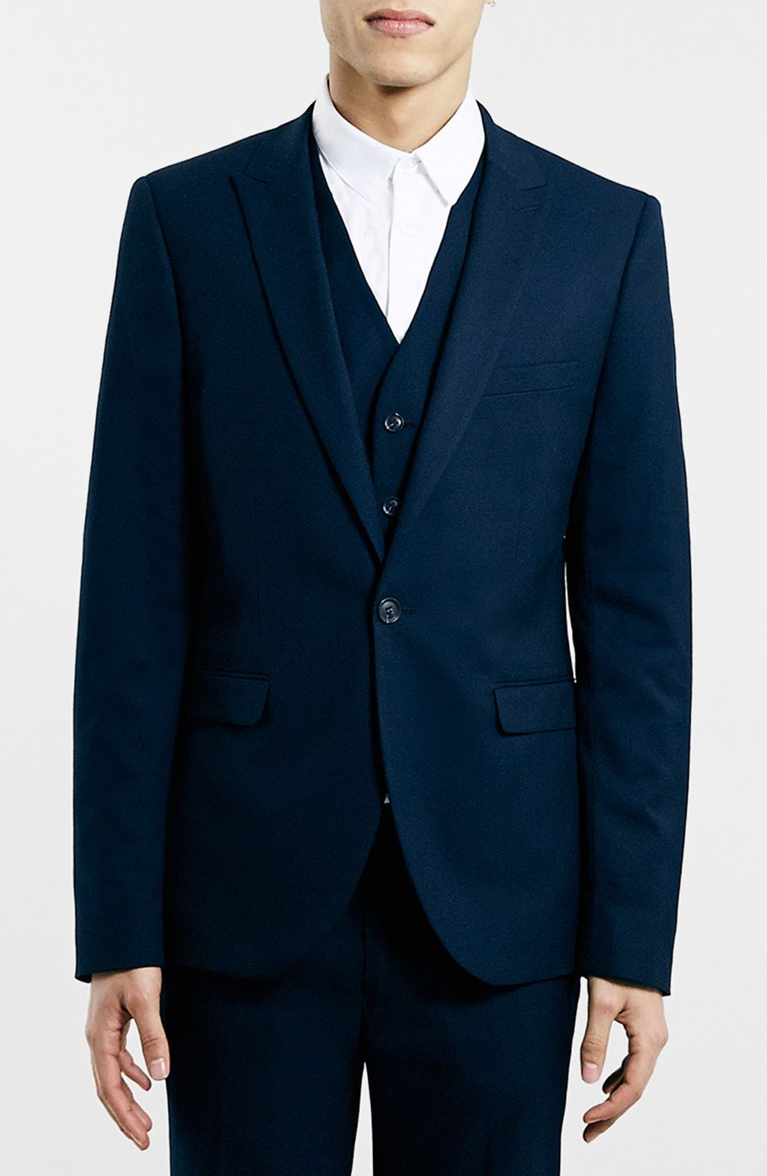 TOPMAN, Navy Textured Skinny Fit Suit Jacket, Main thumbnail 1, color, 410