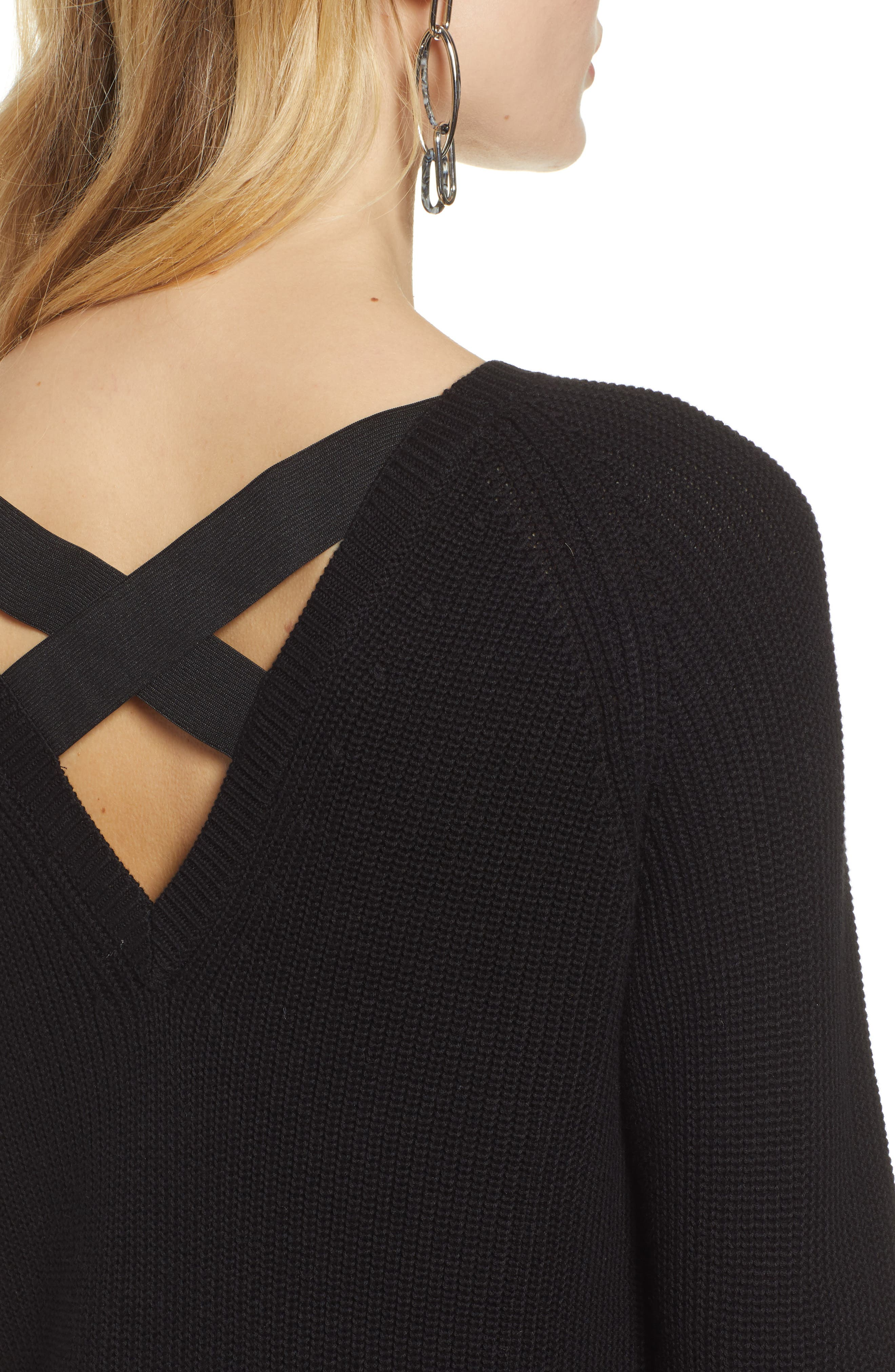 HALOGEN<SUP>®</SUP>, Cross Back Sweater, Alternate thumbnail 4, color, BLACK