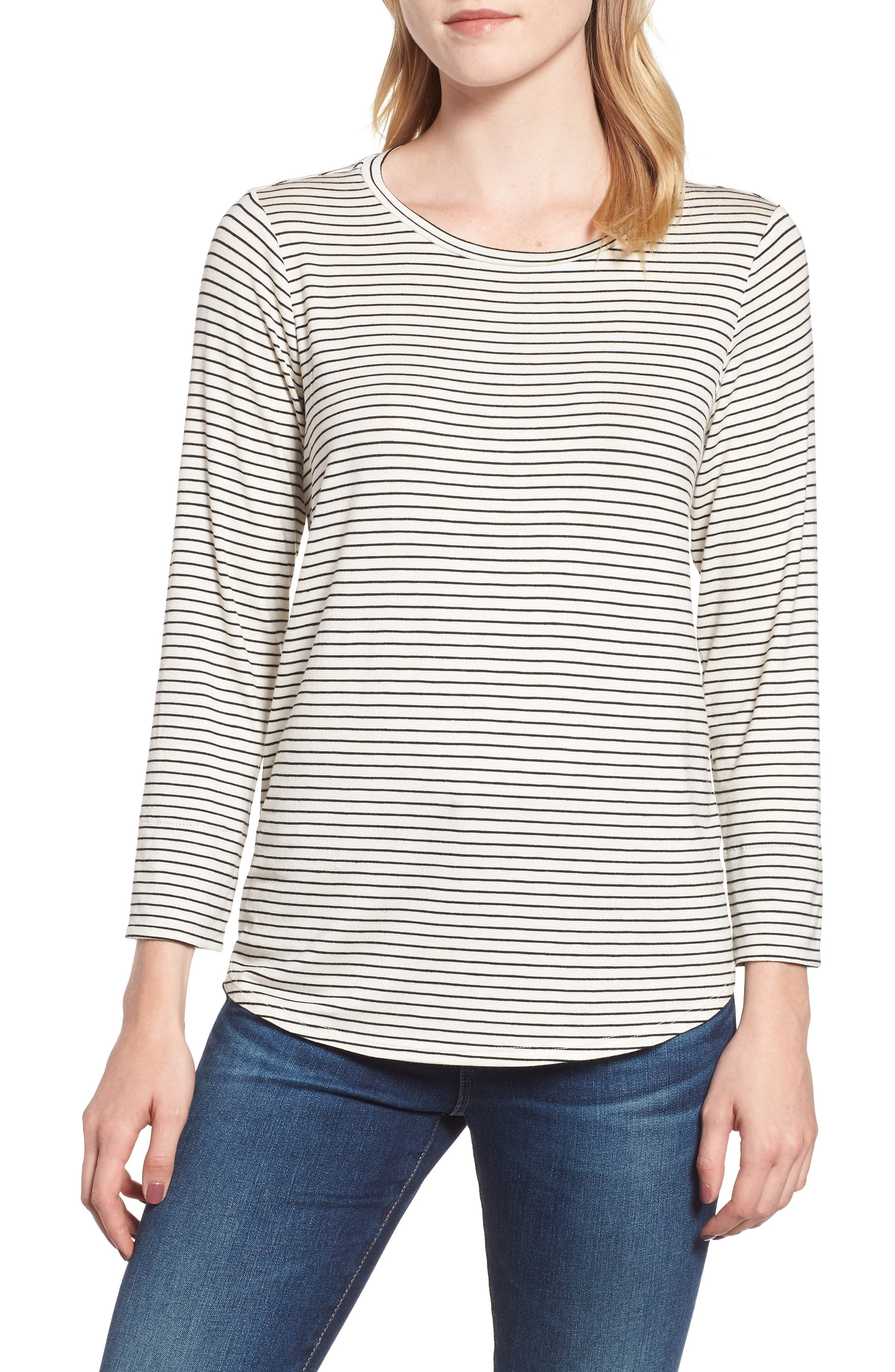 GIBSON, x Living in Yellow Alice Stripe Jersey Top, Main thumbnail 1, color, IVORY/ BLACK