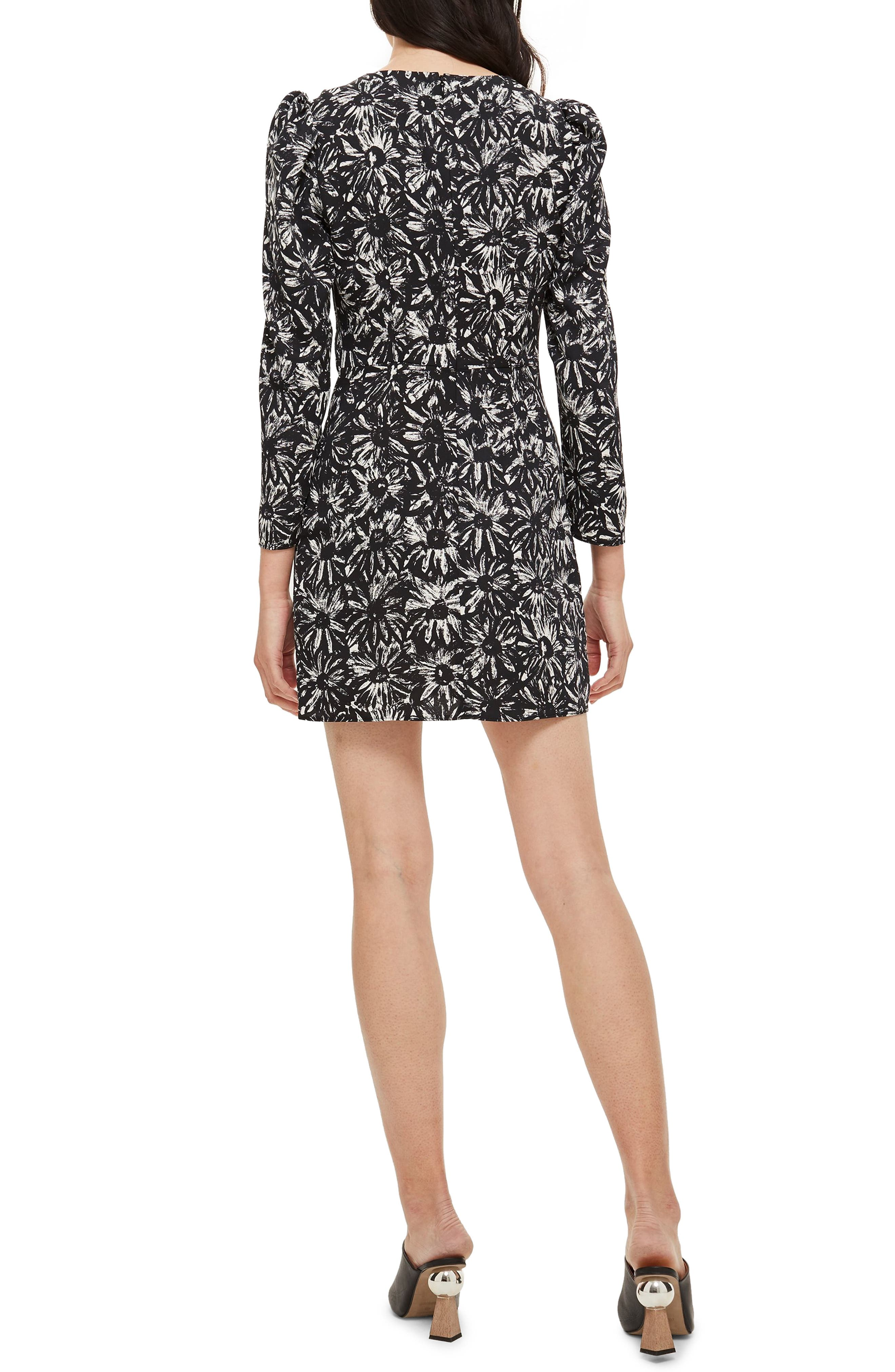 TOPSHOP, Daisy Ruched Minidress, Alternate thumbnail 2, color, 001