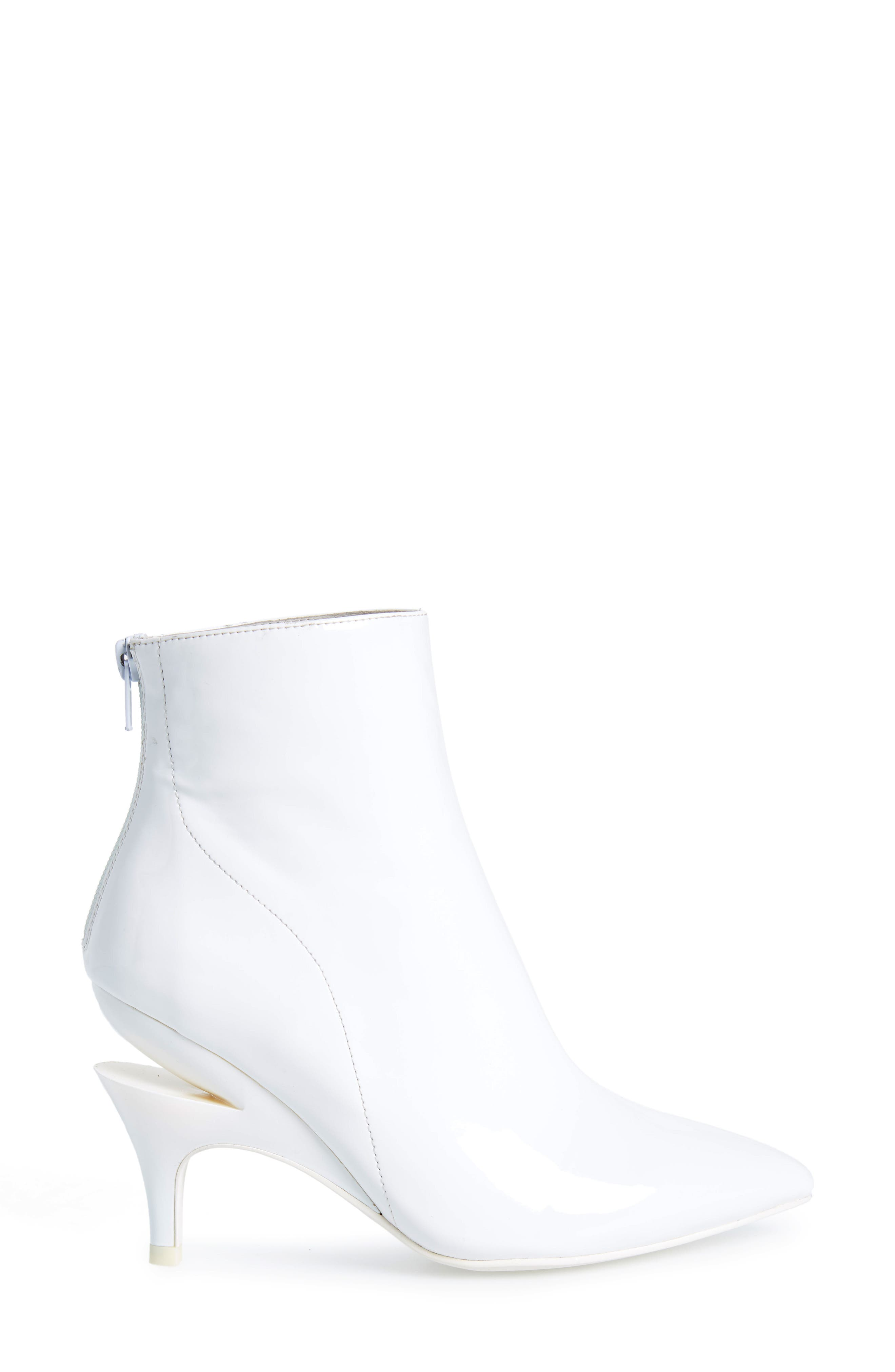 JEFFREY CAMPBELL, Museum Bootie, Alternate thumbnail 3, color, WHITE PATENT LEATHER