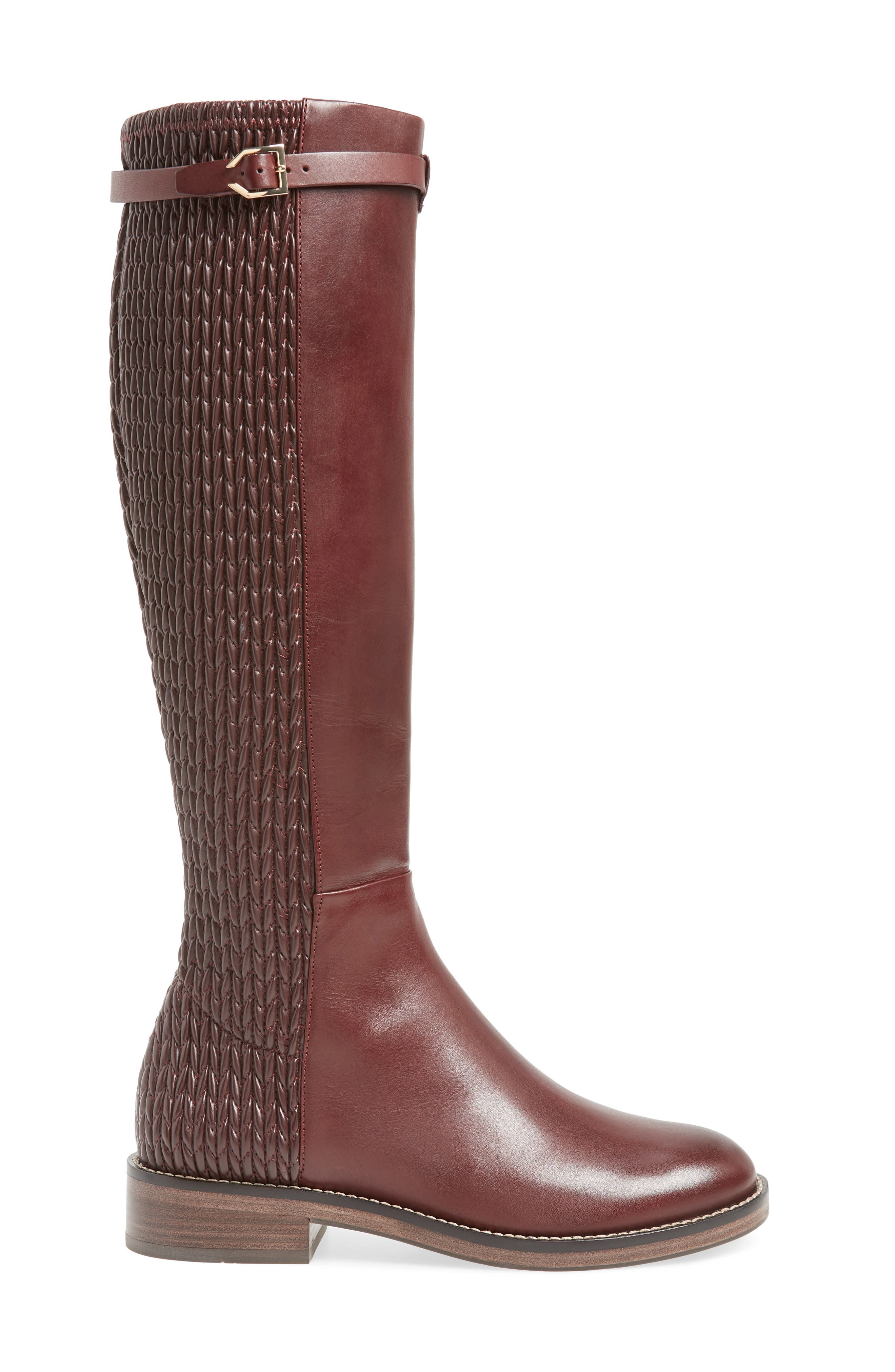 COLE HAAN, Lexi Grand Knee High Stretch Boot, Alternate thumbnail 3, color, CORDOVAN LEATHER