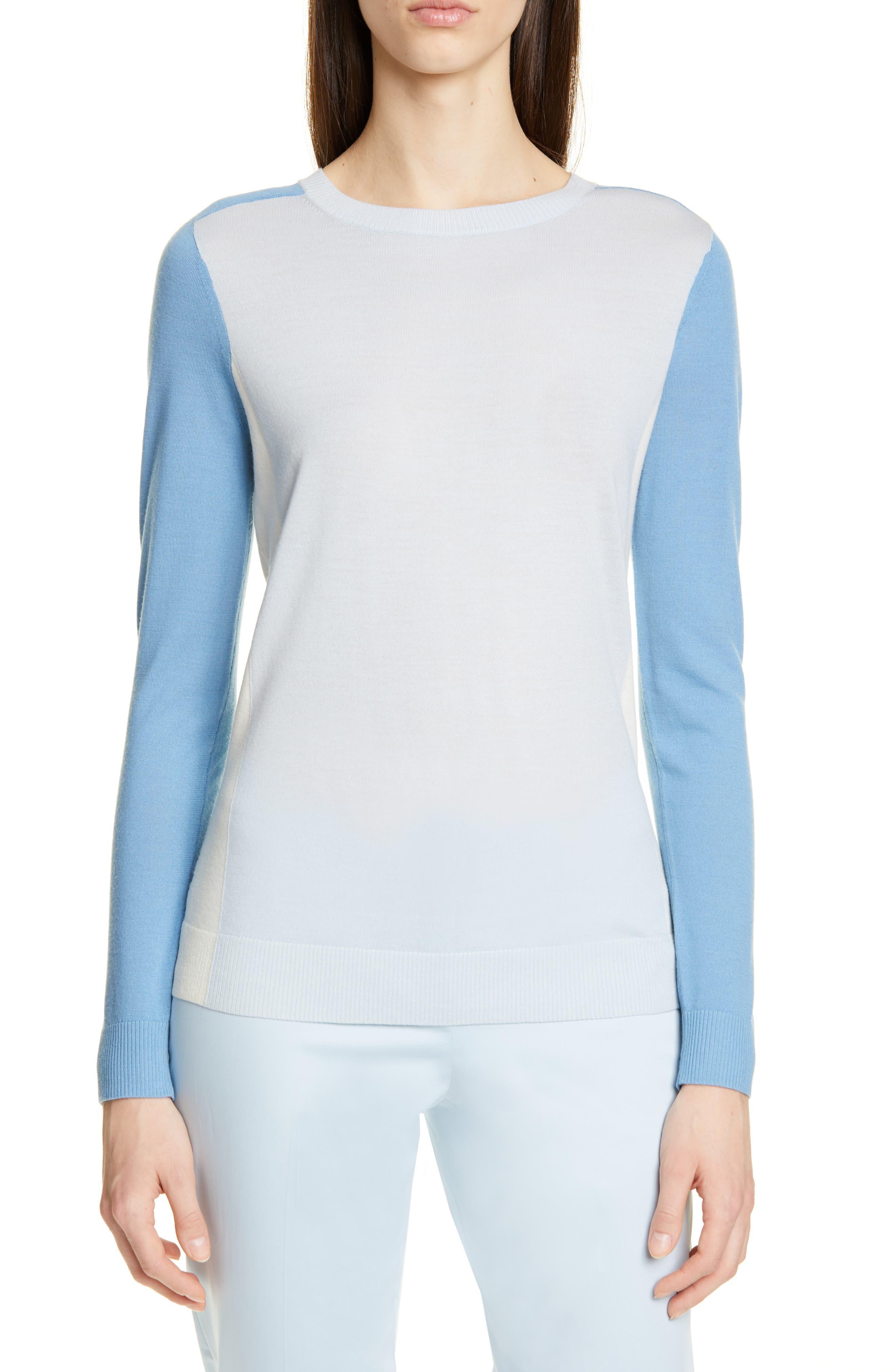 Boss Fara Colorblock Wool Sweater, Blue