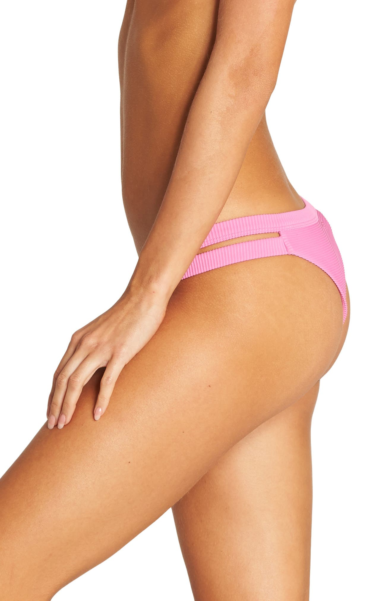 BILLABONG, Tanlines Isla Bikini Bottoms, Alternate thumbnail 4, color, ROSA