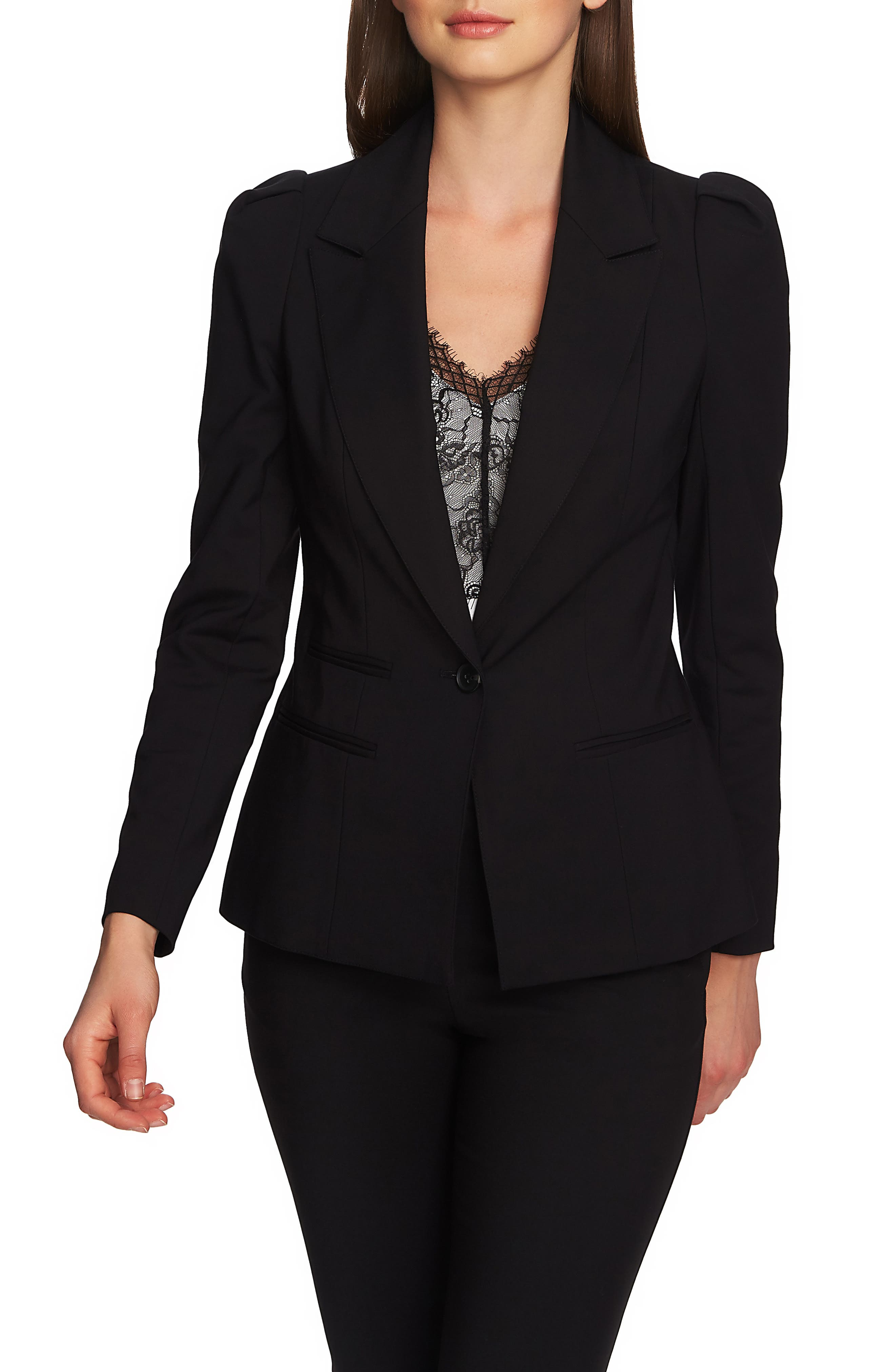 1.STATE Puff Shoulder Blazer, Main, color, RICH BLACK