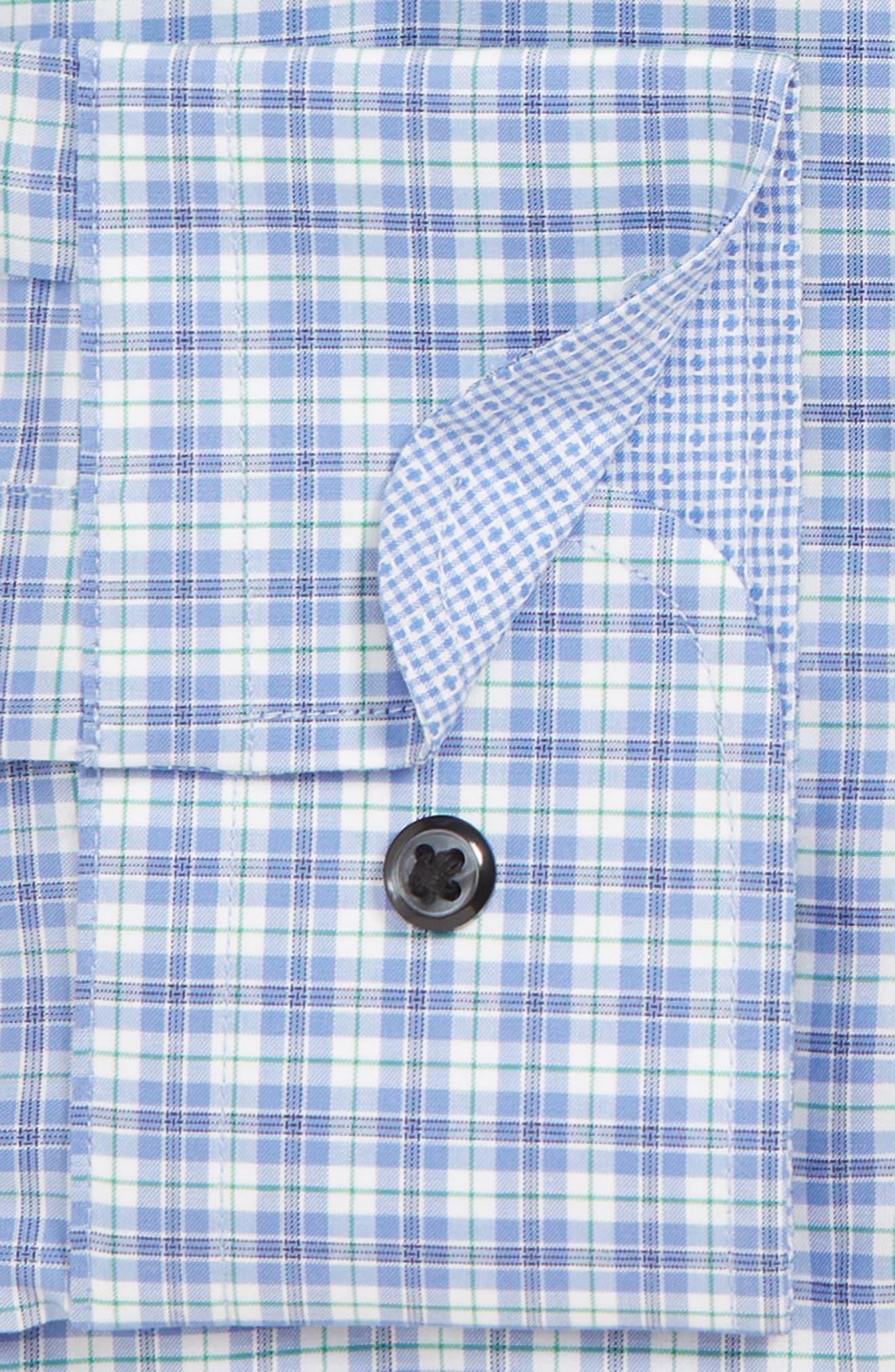 NORDSTROM MEN'S SHOP, Trim Fit Non-Iron Check Dress Shirt, Alternate thumbnail 2, color, GREEN KELLY