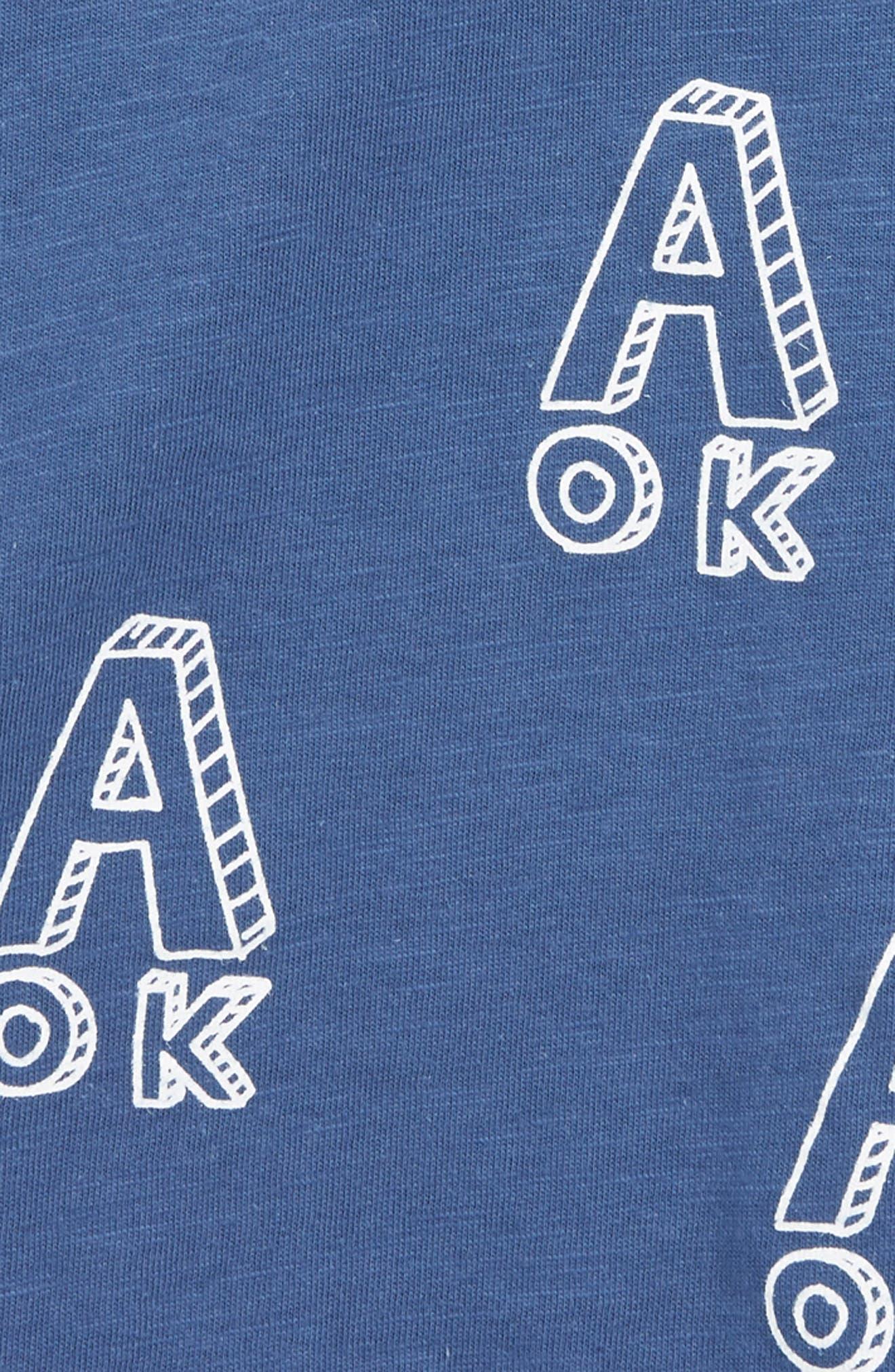 TINY TRIBE, A OK Print T-Shirt, Alternate thumbnail 2, color, NAVY
