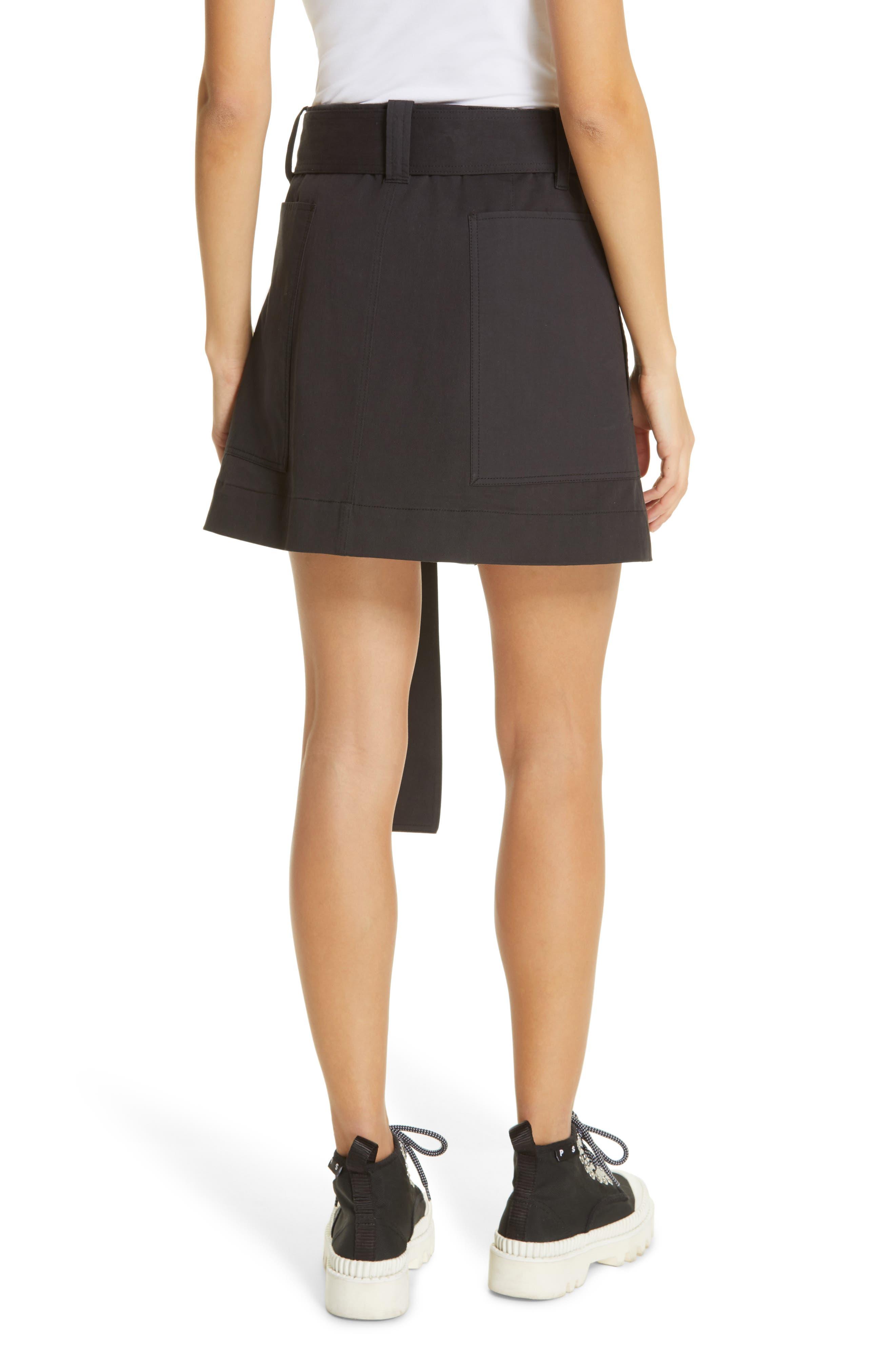 PROENZA SCHOULER, PSWL Belted Utility Skirt, Alternate thumbnail 2, color, BLACK