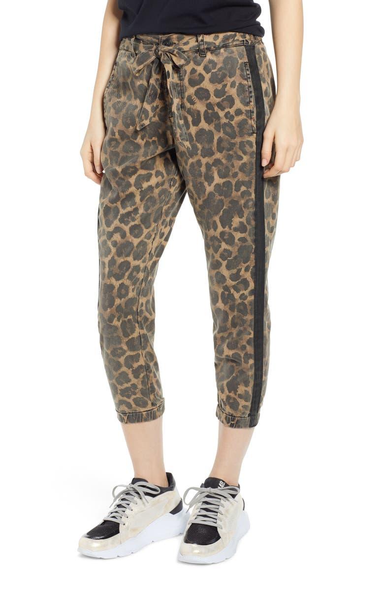Pam & Gela Pants LEOPARD PRINT CROP PANTS