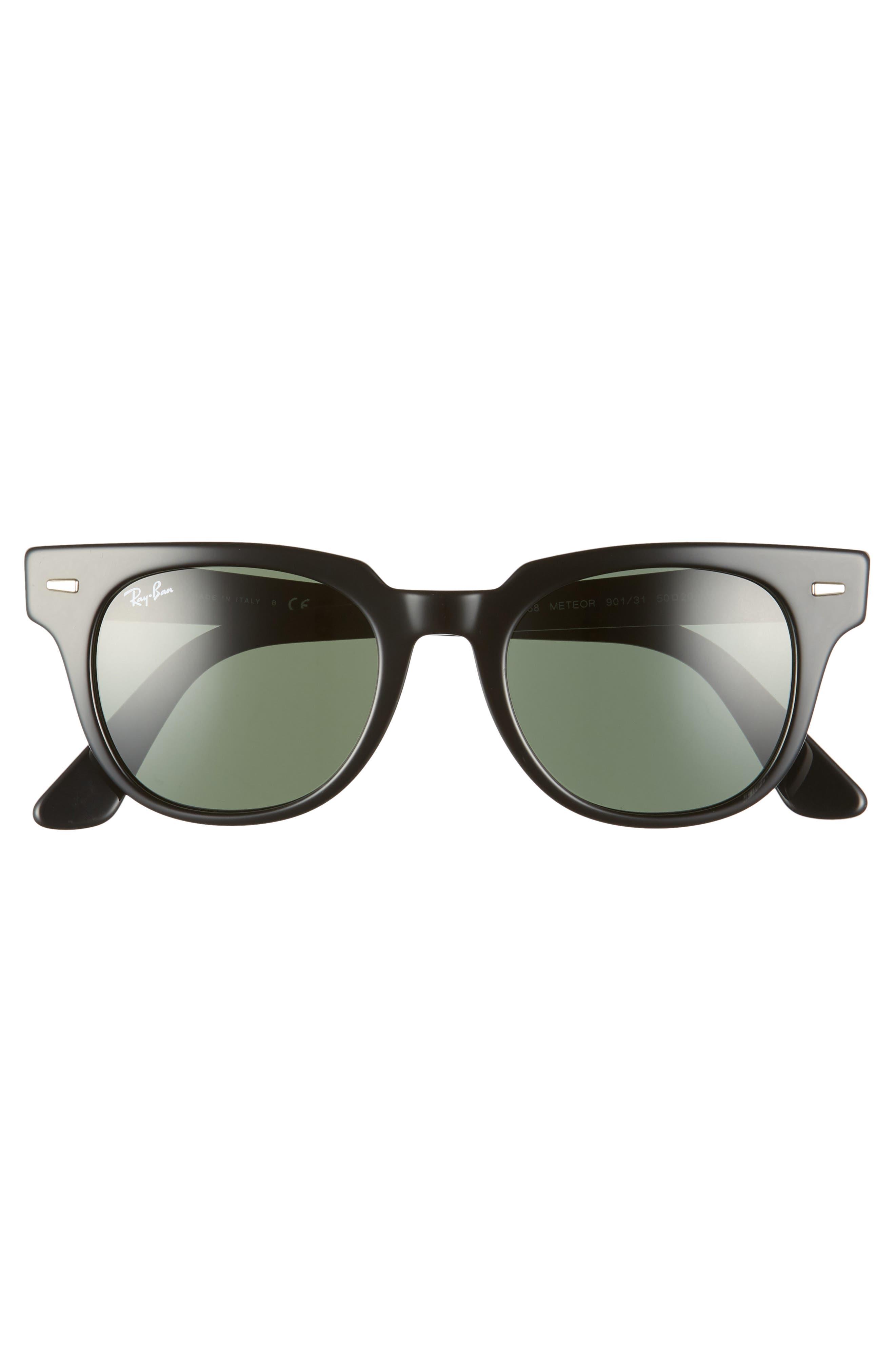 RAY-BAN, Meteor 50mm Wayfarer Sunglasses, Alternate thumbnail 3, color, BLACK SOLID