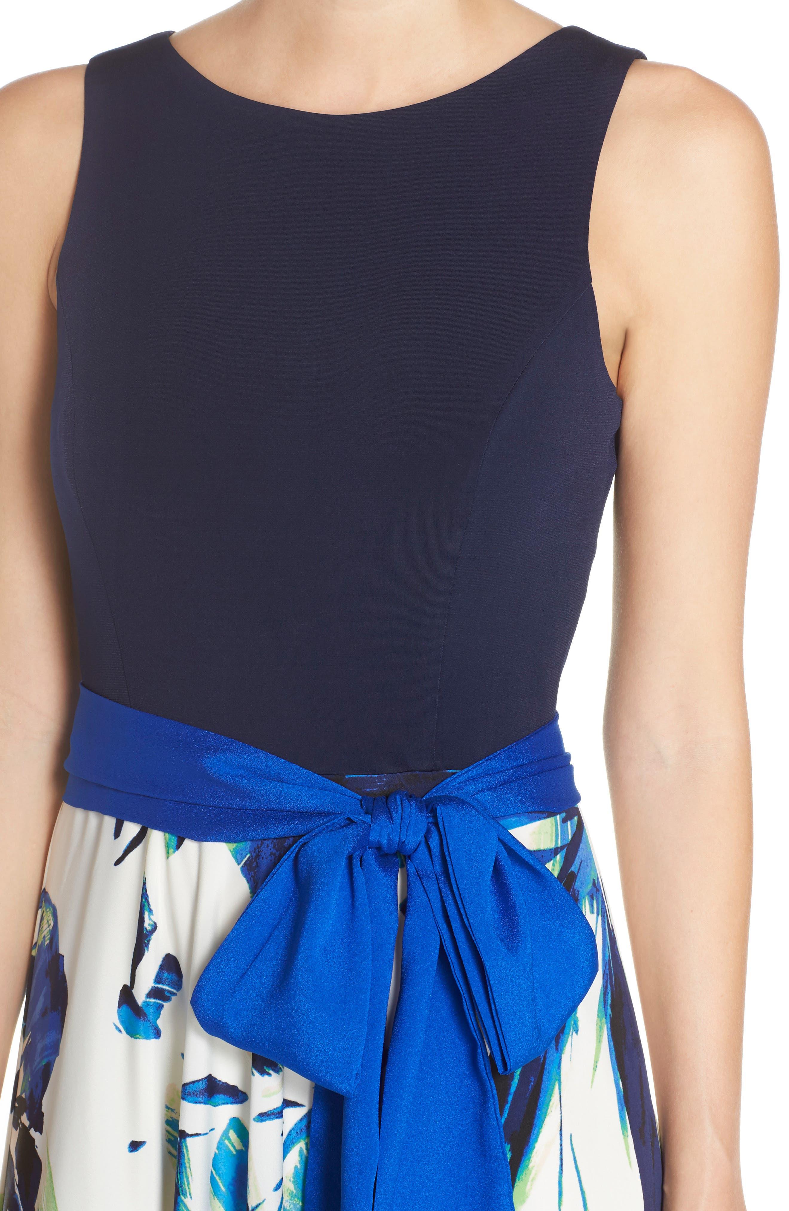 ELIZA J, Jersey & Crêpe de Chine Maxi Dress, Alternate thumbnail 4, color, 421