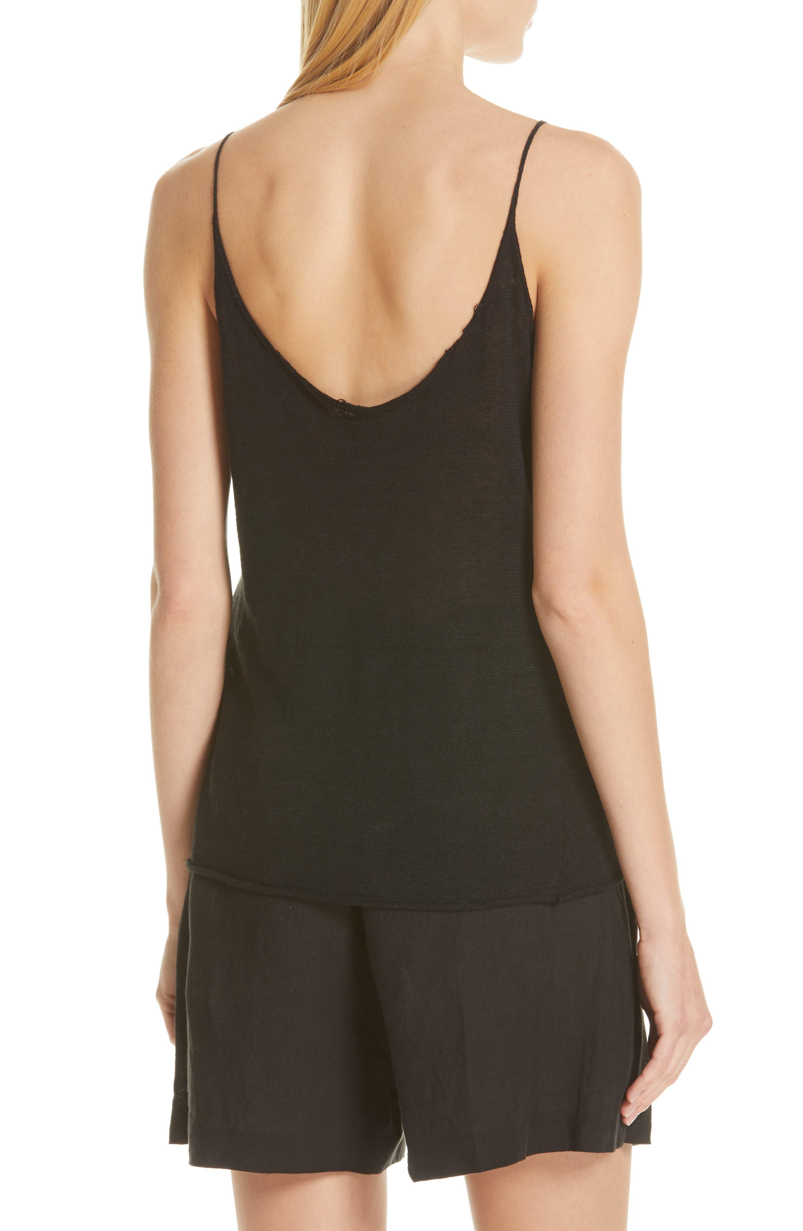 NILI LOTAN, Linen Sweater Tank, Alternate thumbnail 2, color, BLACK