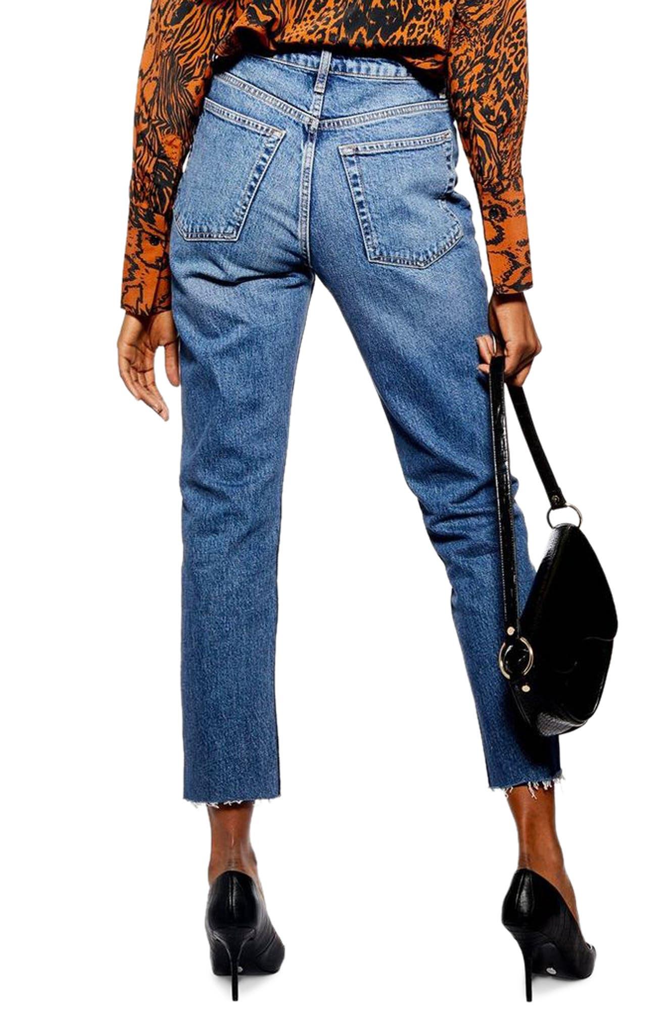 TOPSHOP, Exposed Button Raw Hem Straight Leg Jeans, Alternate thumbnail 2, color, INDIGO