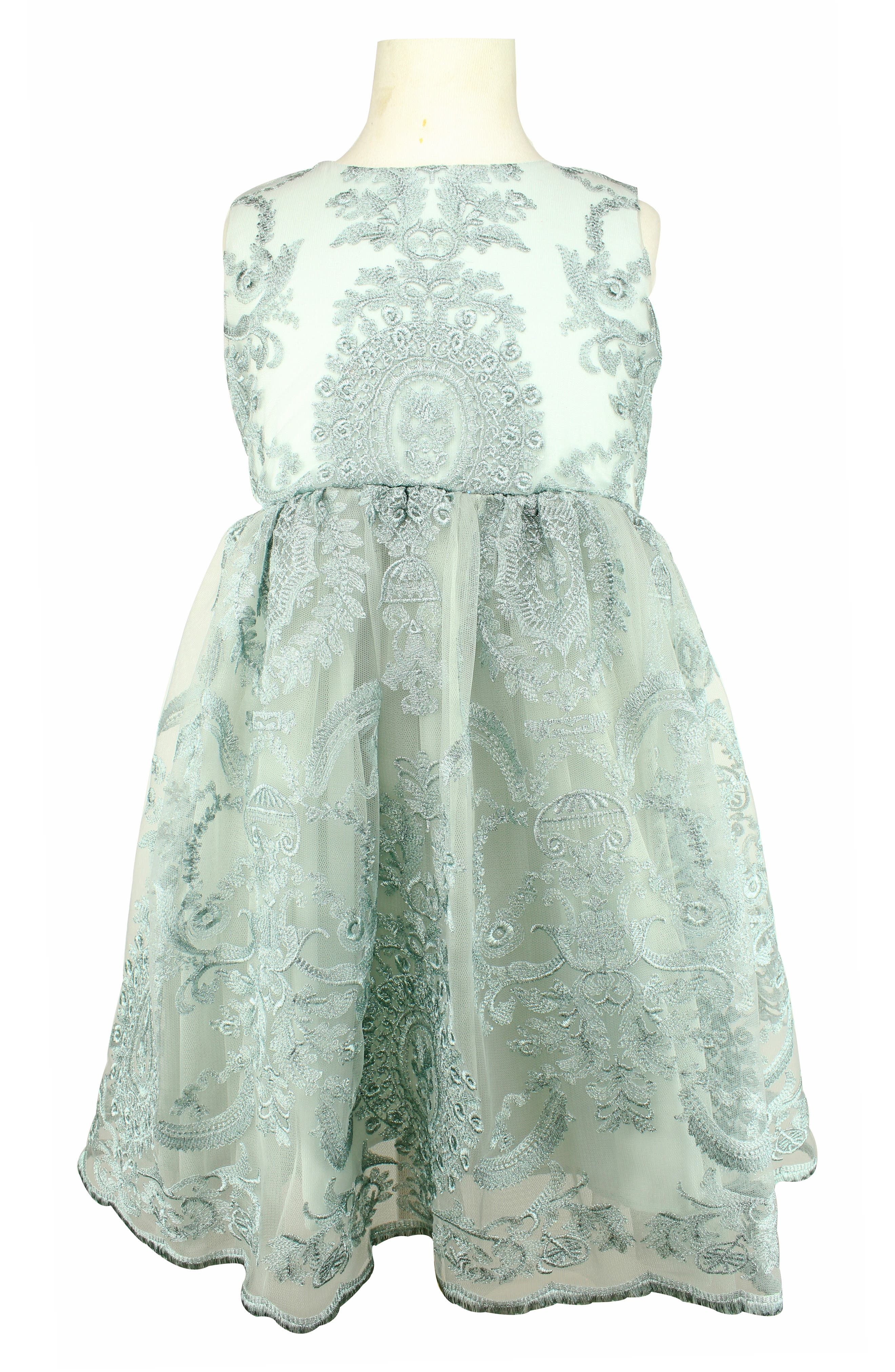 POPATU, Embroidered Tulle Dress, Main thumbnail 1, color, BLUE