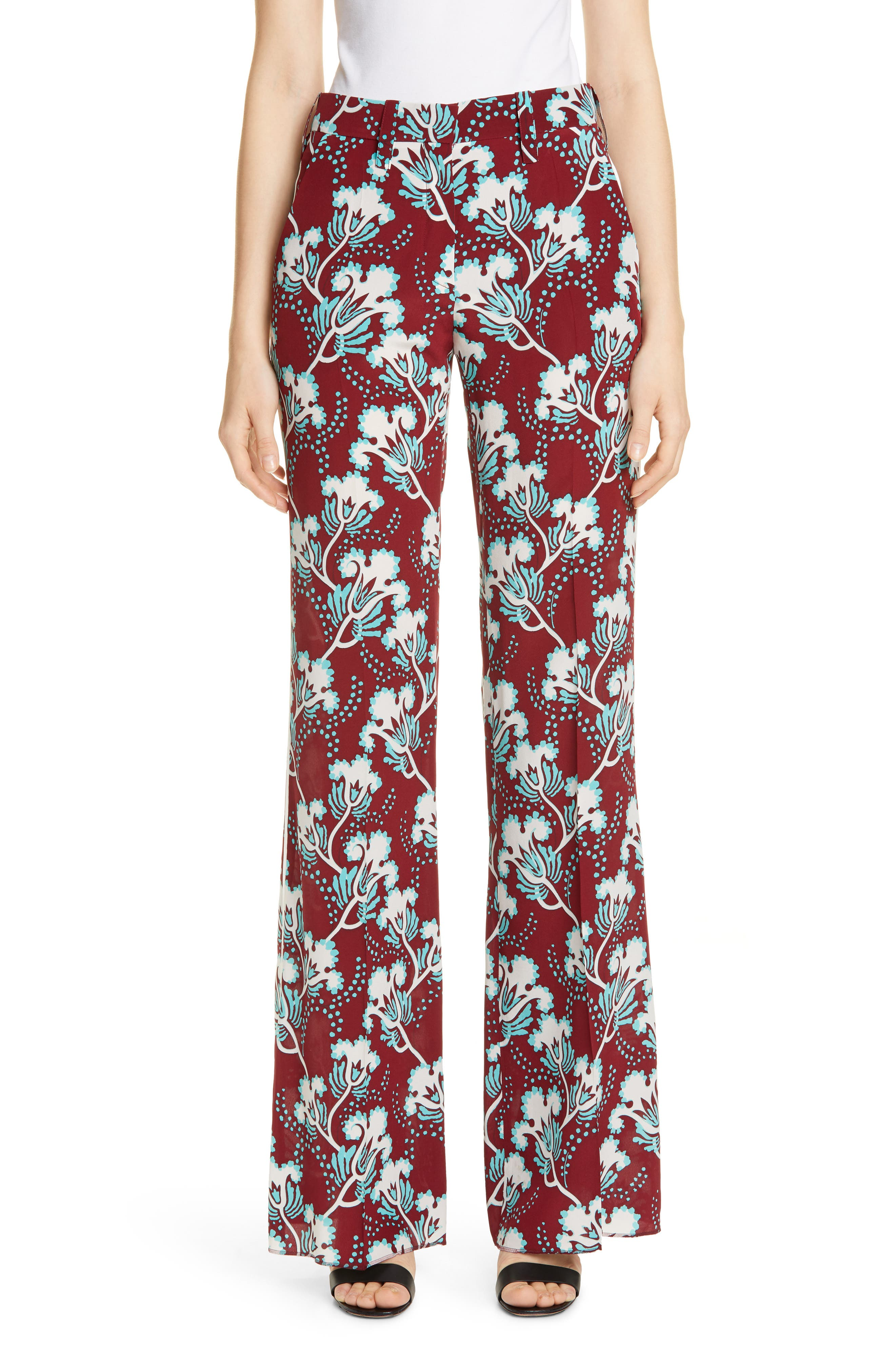 VALENTINO Elderflower Print Wide Leg Silk Pants, Main, color, GTB-GARNET/TURCHESE/BIANCO