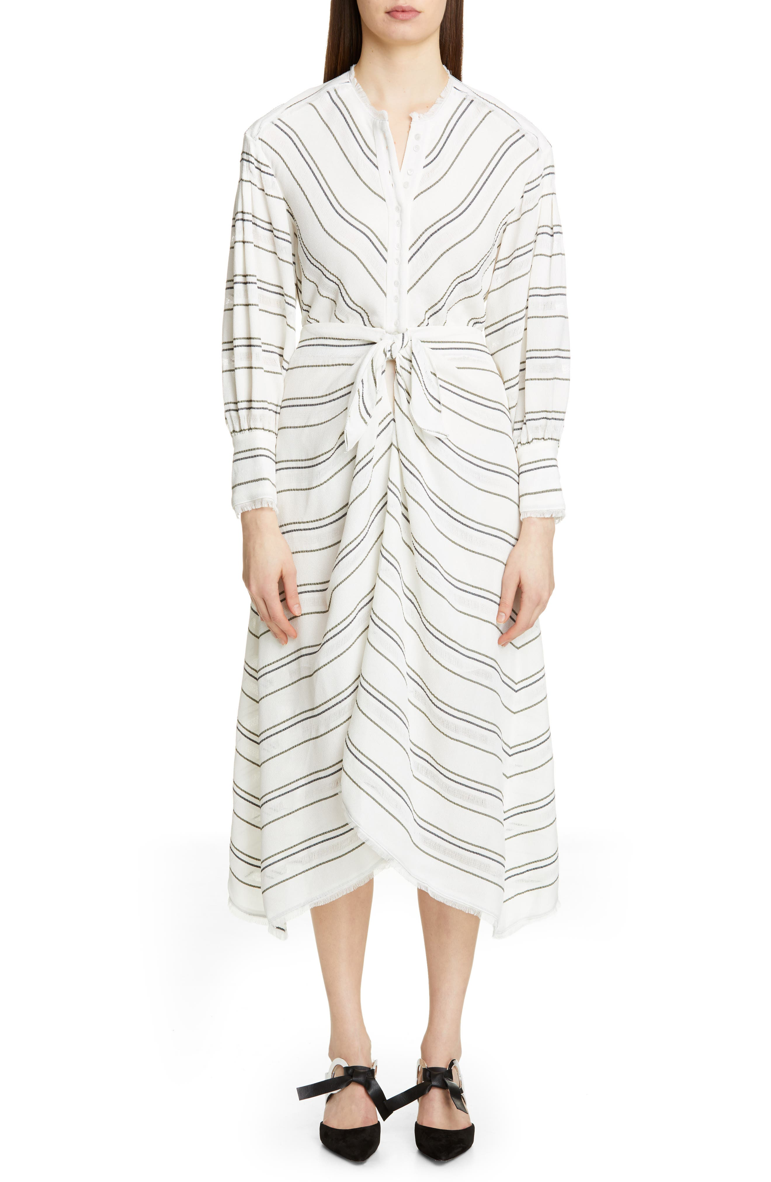 PROENZA SCHOULER, Tie Front Stripe Crepe Dress, Main thumbnail 1, color, WHITE
