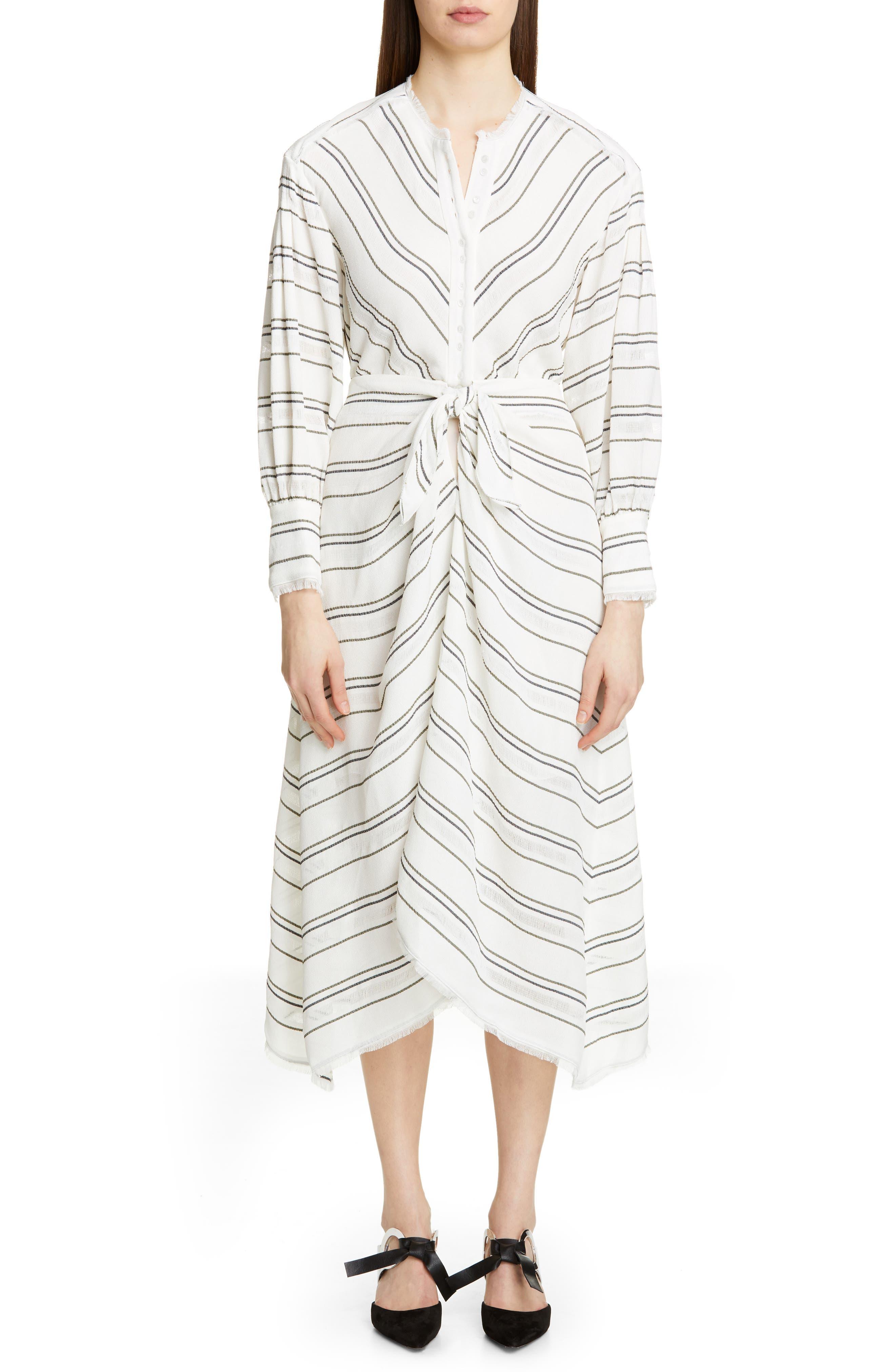 PROENZA SCHOULER Tie Front Stripe Crepe Dress, Main, color, WHITE