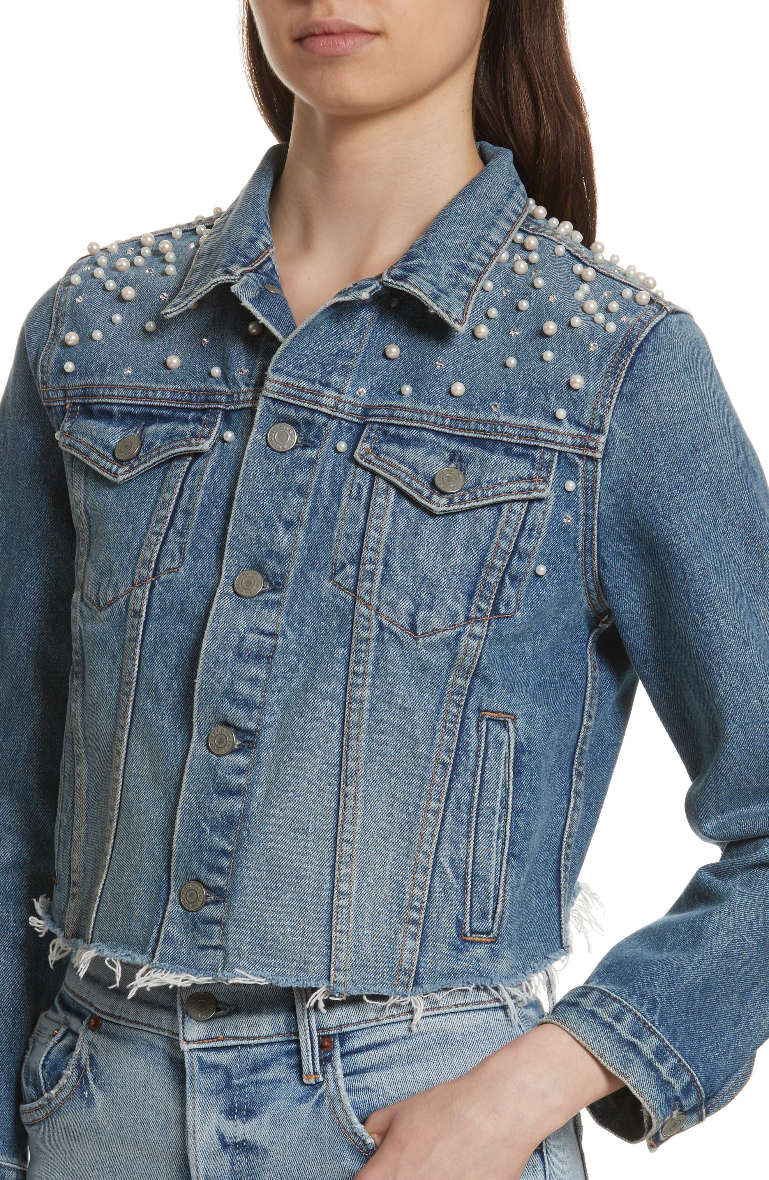 GRLFRND, Eve Faux Pearl & Crystal Embellished Crop Denim Jacket, Alternate thumbnail 4, color, 498
