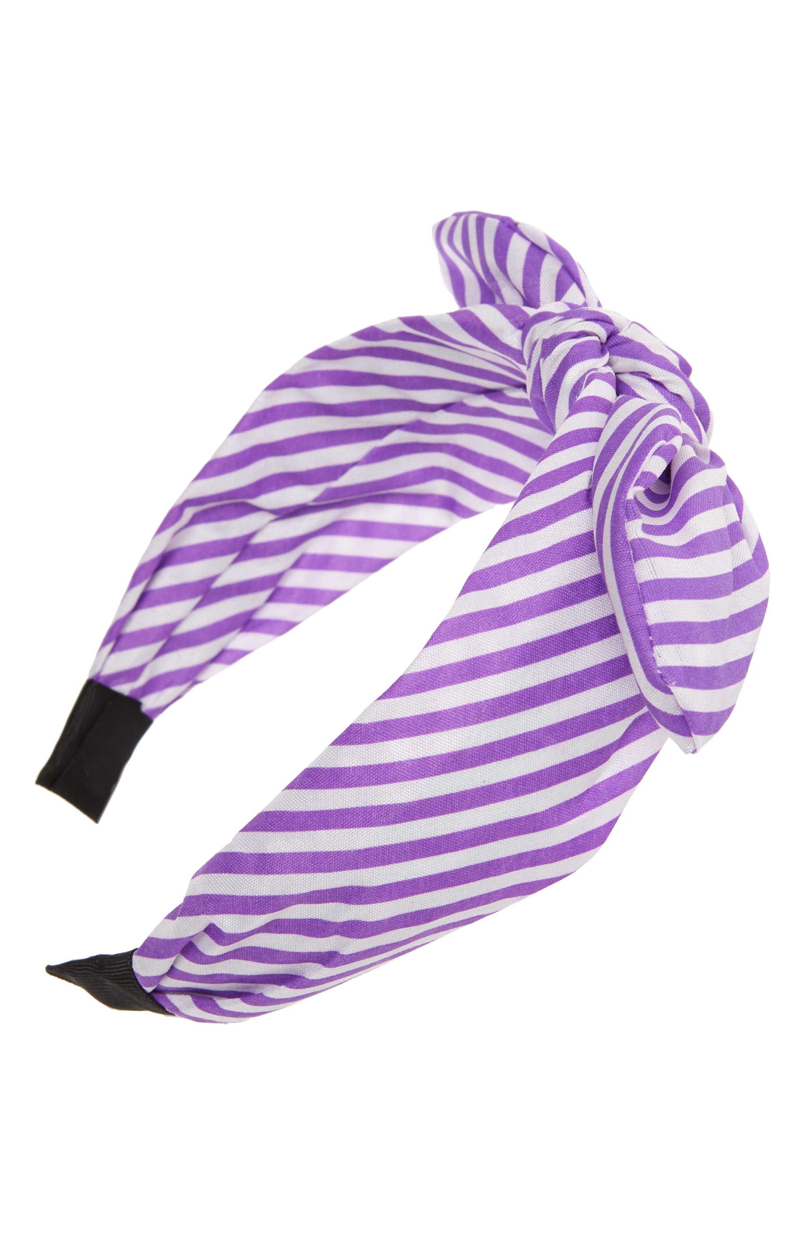 TASHA, Knotted Stripe Bow Headband, Main thumbnail 1, color, LAVENDER/ WHITE