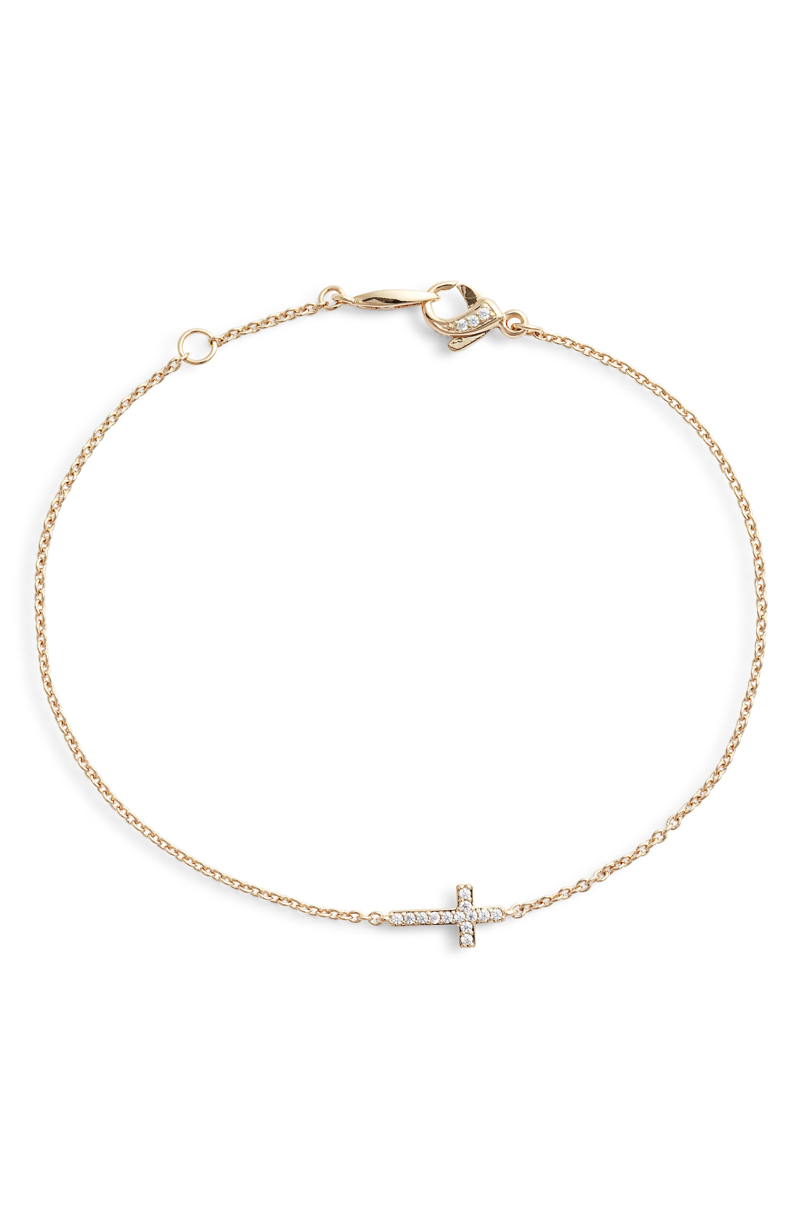 NADRI, Cross Chain Bracelet, Main thumbnail 1, color, GOLD