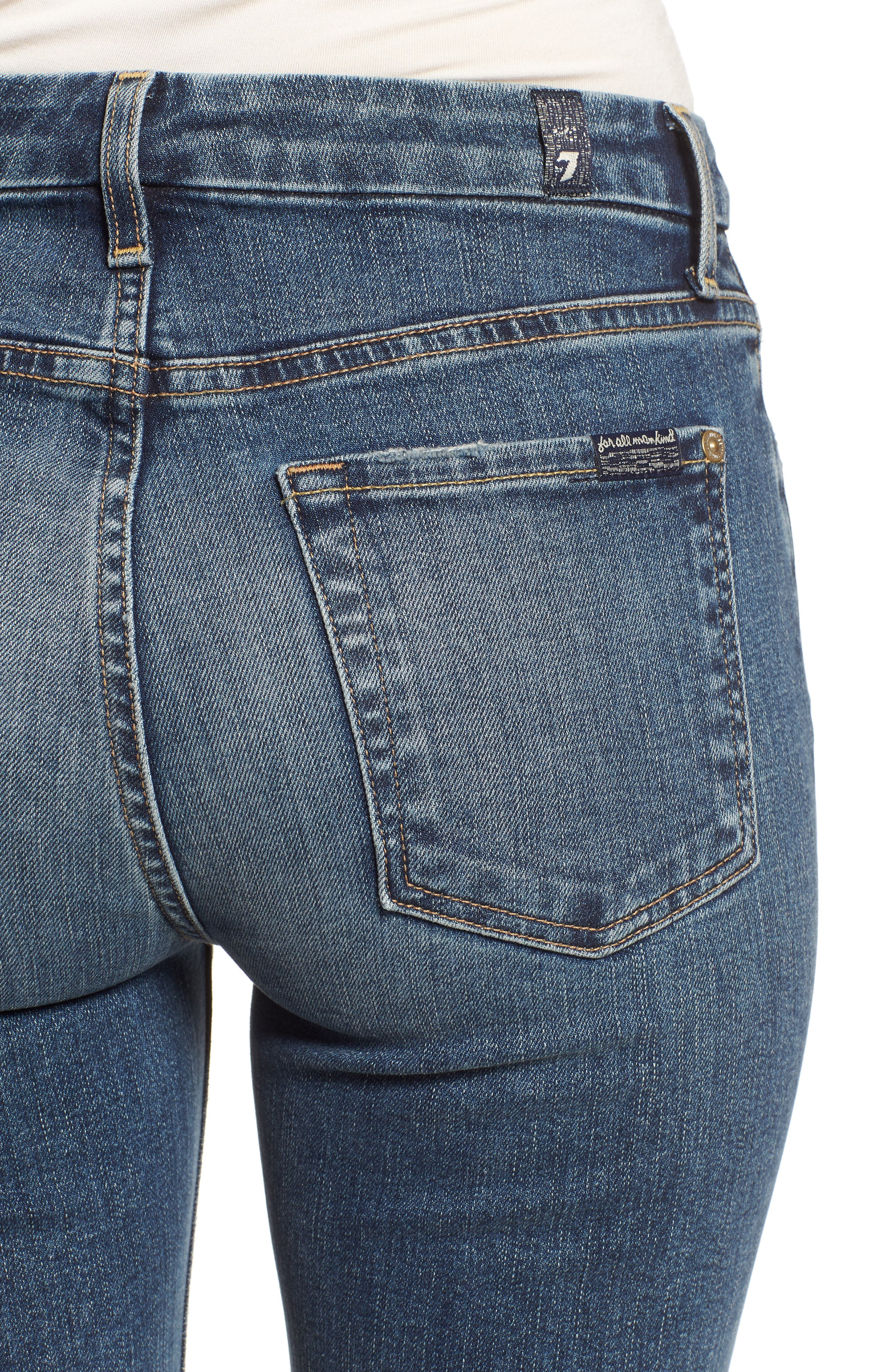 7 FOR ALL MANKIND<SUP>®</SUP>, The High Waist Ankle Skinny Jeans, Alternate thumbnail 5, color, 400