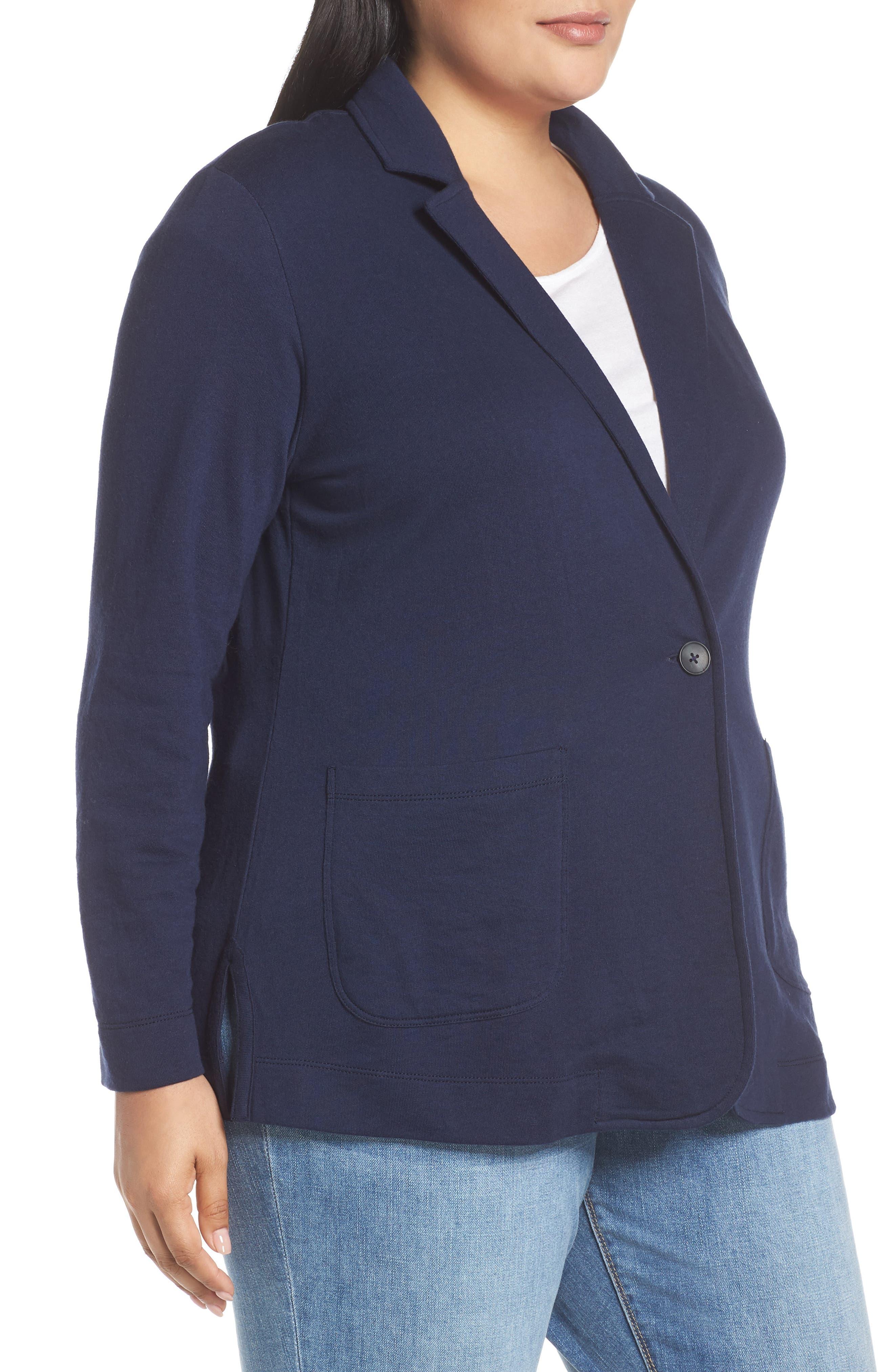 CASLON<SUP>®</SUP>, Double Pocket Knit Blazer, Alternate thumbnail 4, color, NAVY PEACOAT