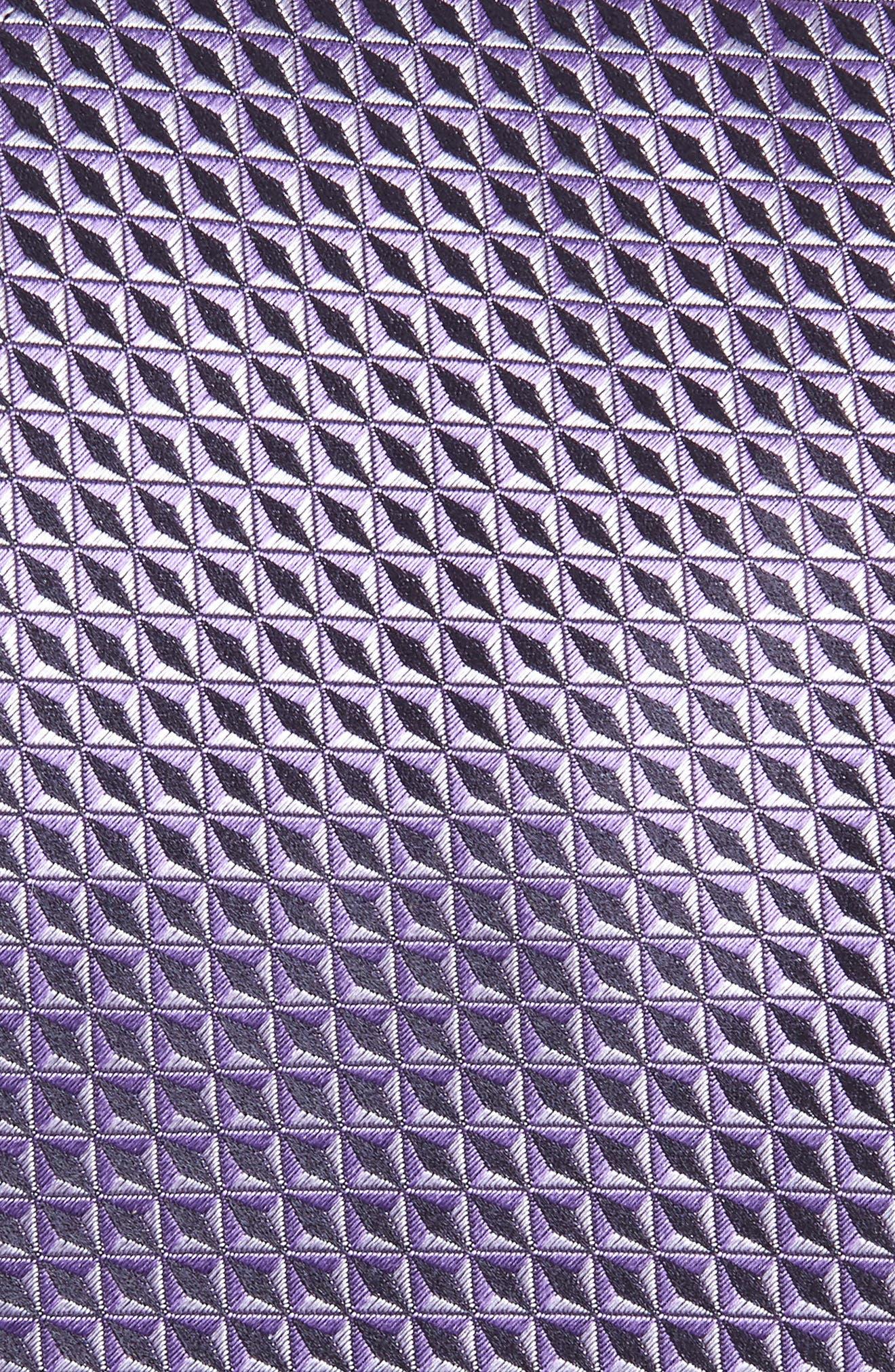 CANALI, Geometric Silk X-Long Tie, Alternate thumbnail 2, color, LIGHT PURPLE