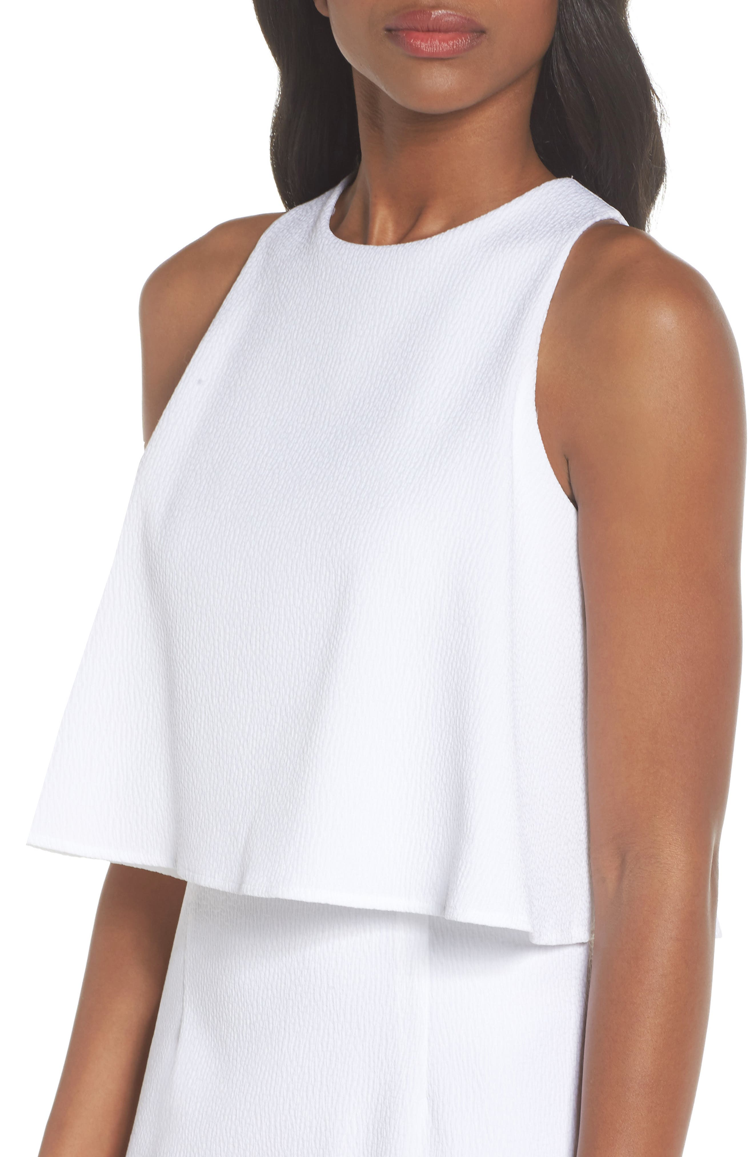 CHELSEA28, Popover Crop Sheath Dress, Alternate thumbnail 5, color, WHITE SNOW