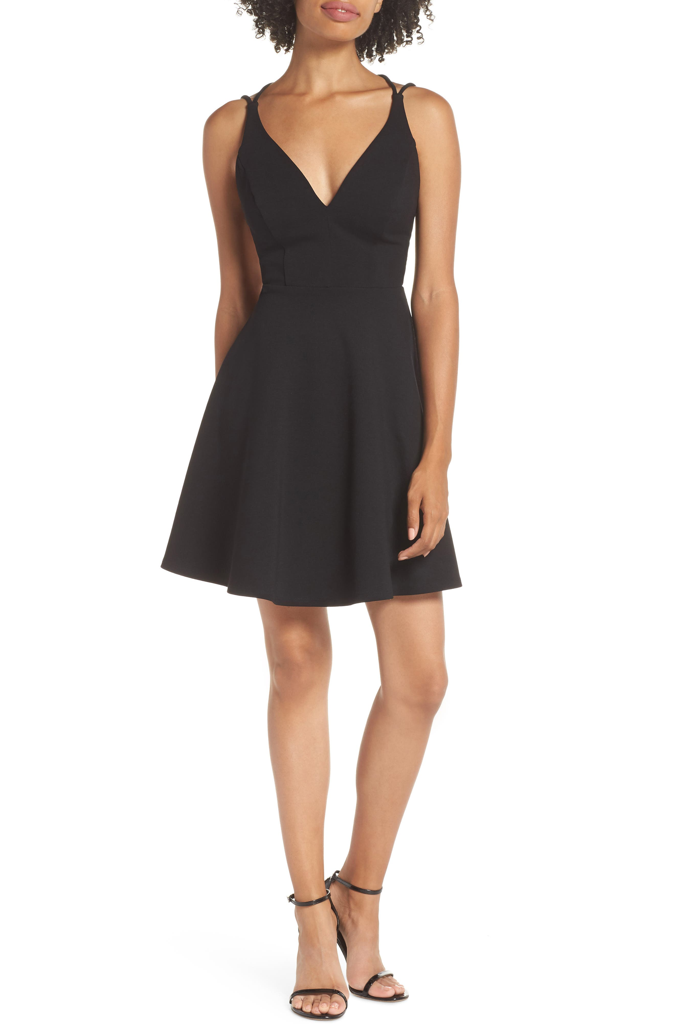 LULUS Believe in Love Strappy Back Skater Dress, Main, color, BLACK
