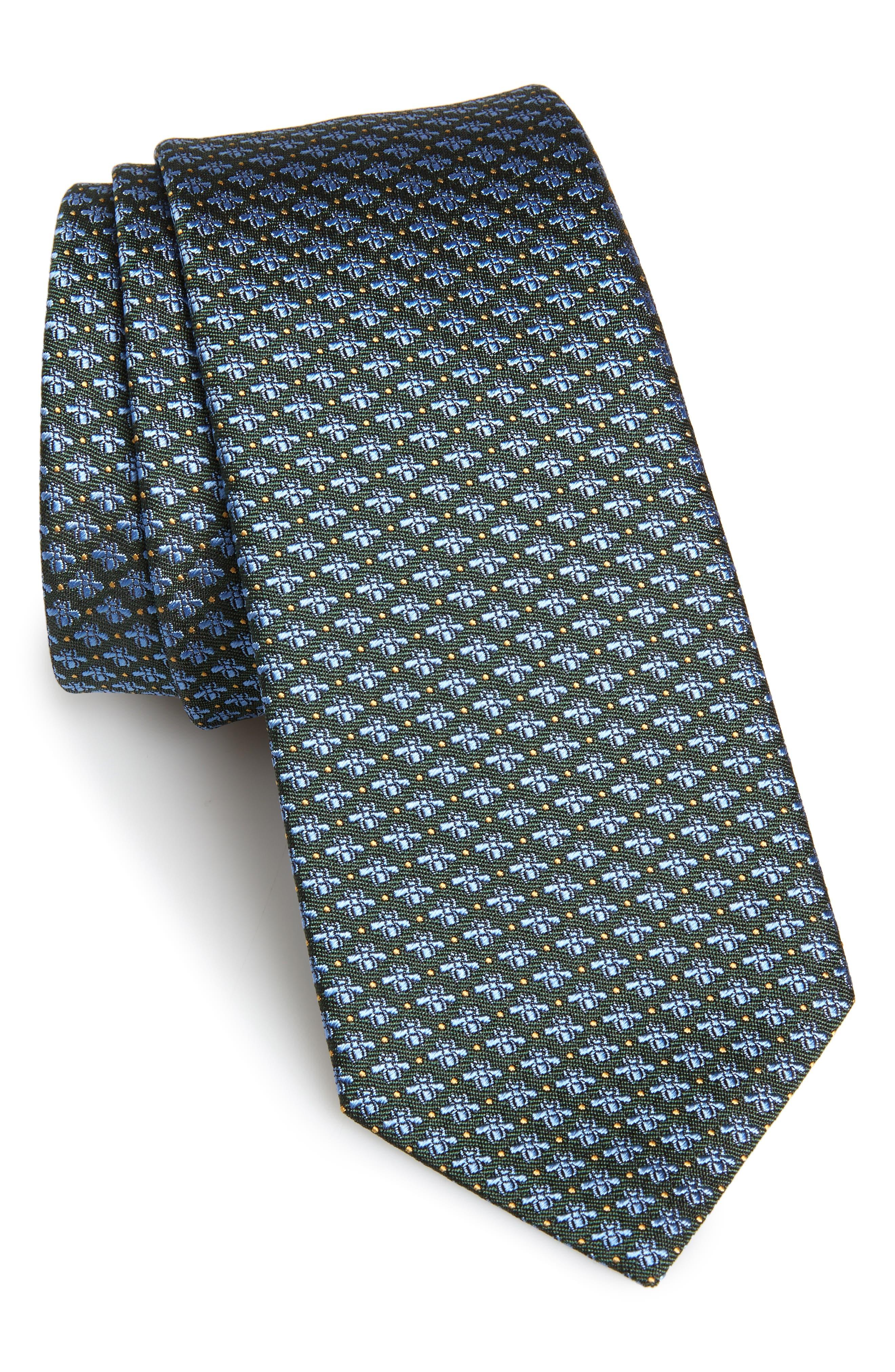 GUCCI, 7.0 Woven Silk Tie, Main thumbnail 1, color, SAGE