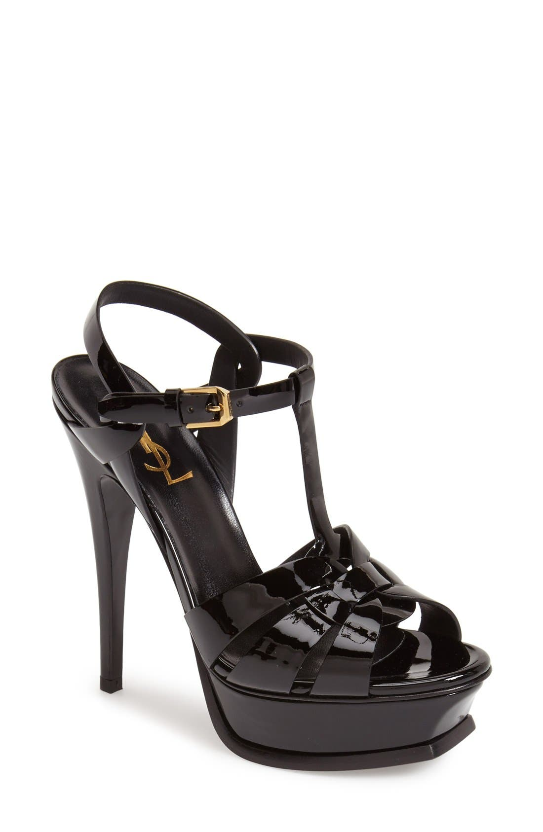 SAINT LAURENT, Tribute T-Strap Platform Sandal, Main thumbnail 1, color, BLACK PATENT