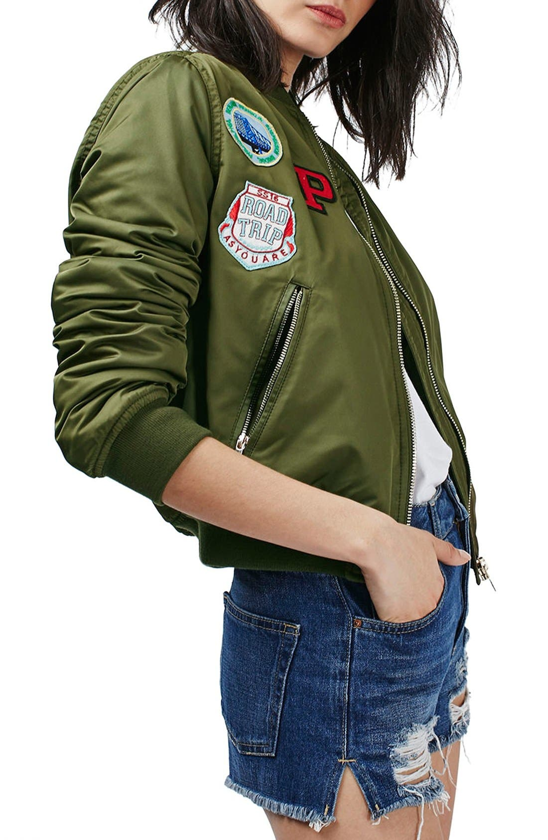 TOPSHOP 'Bruce' Patch Detail MA1 Bomber Jacket, Main, color, 300