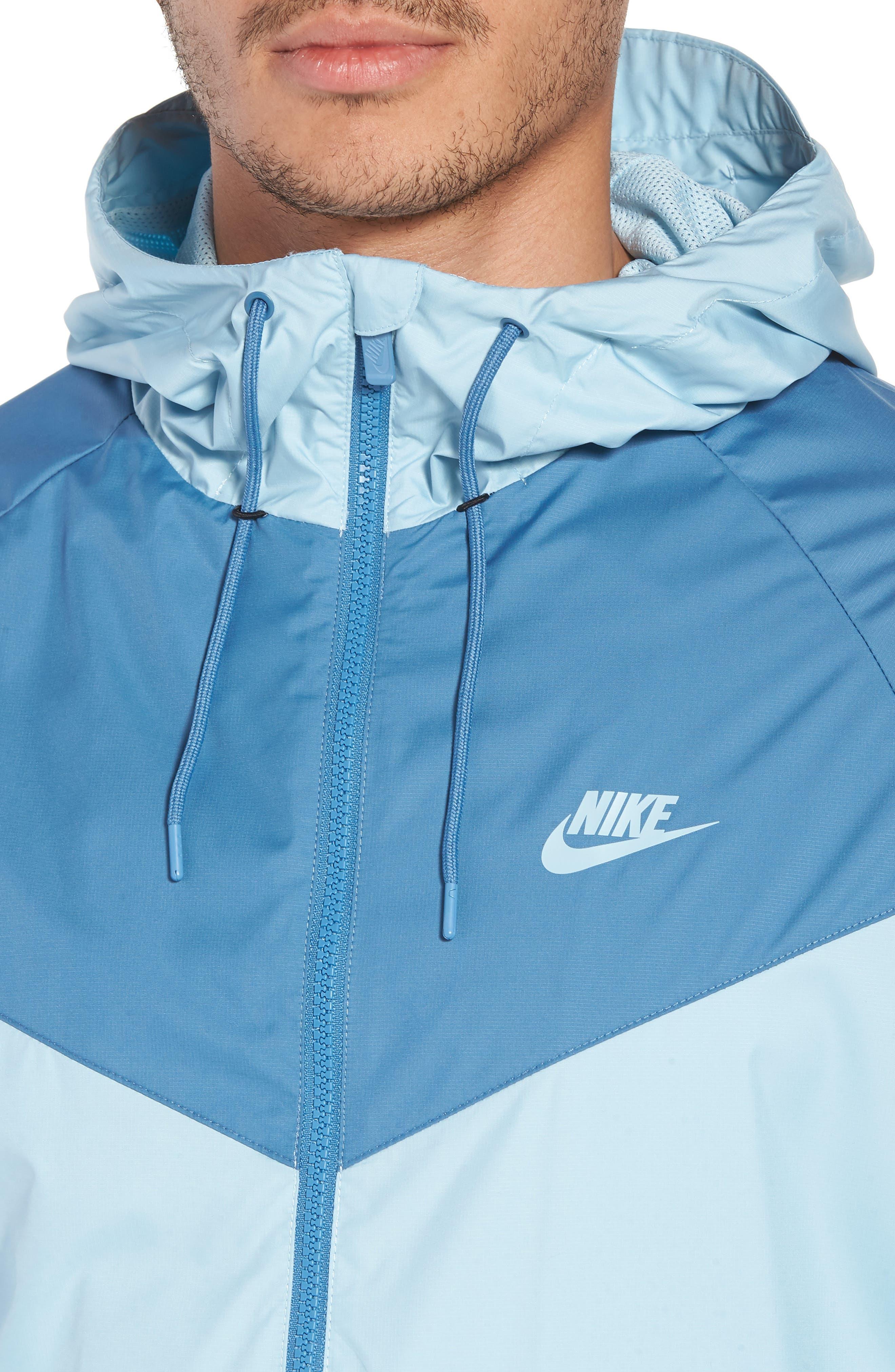 NIKE, Windrunner Colorblock Jacket, Alternate thumbnail 5, color, OCEAN BLISS/ AEGEAN STORM