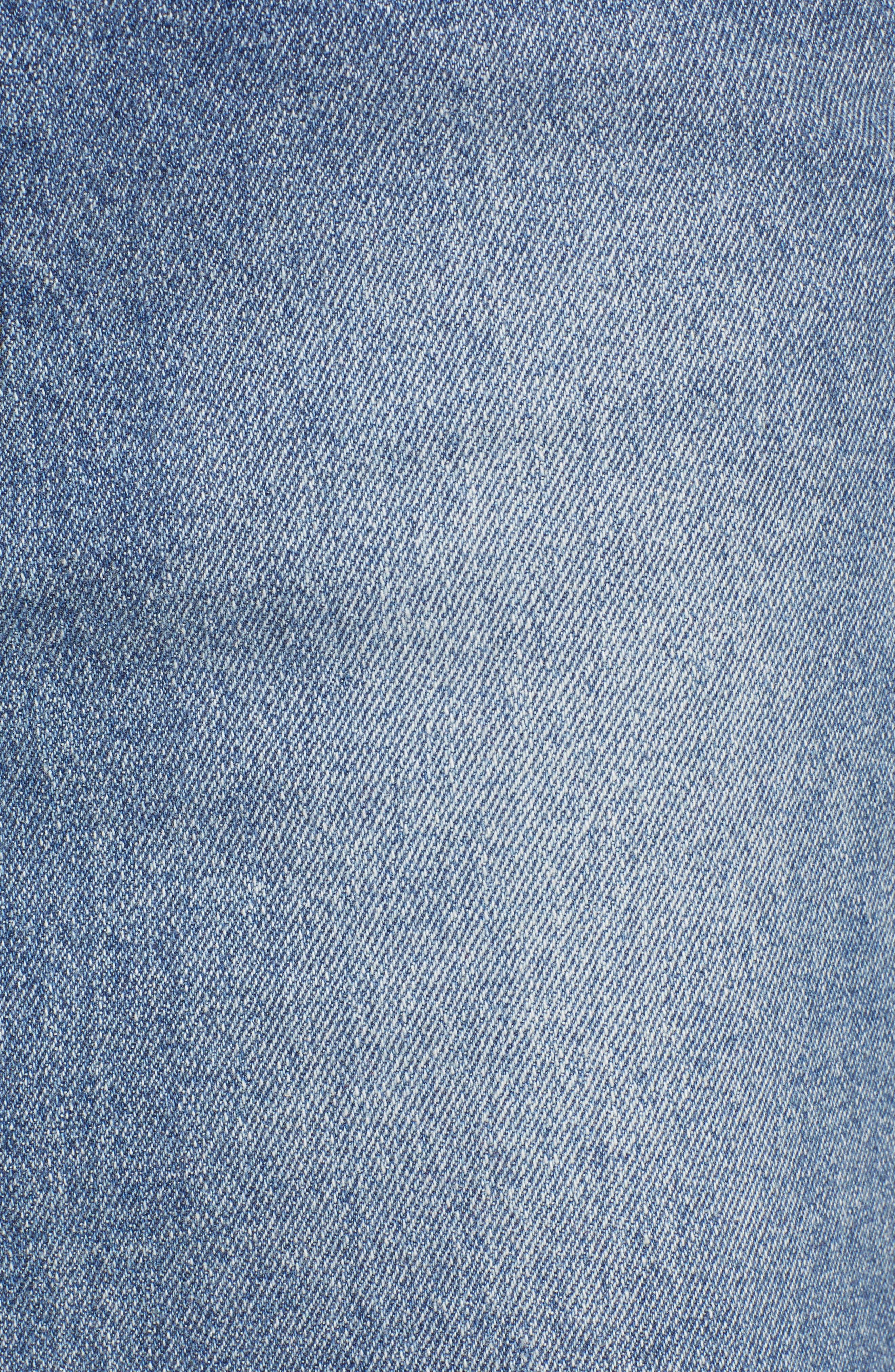 PROSPERITY DENIM, Raw Hem Denim Miniskirt, Alternate thumbnail 6, color, LIGHT WASH