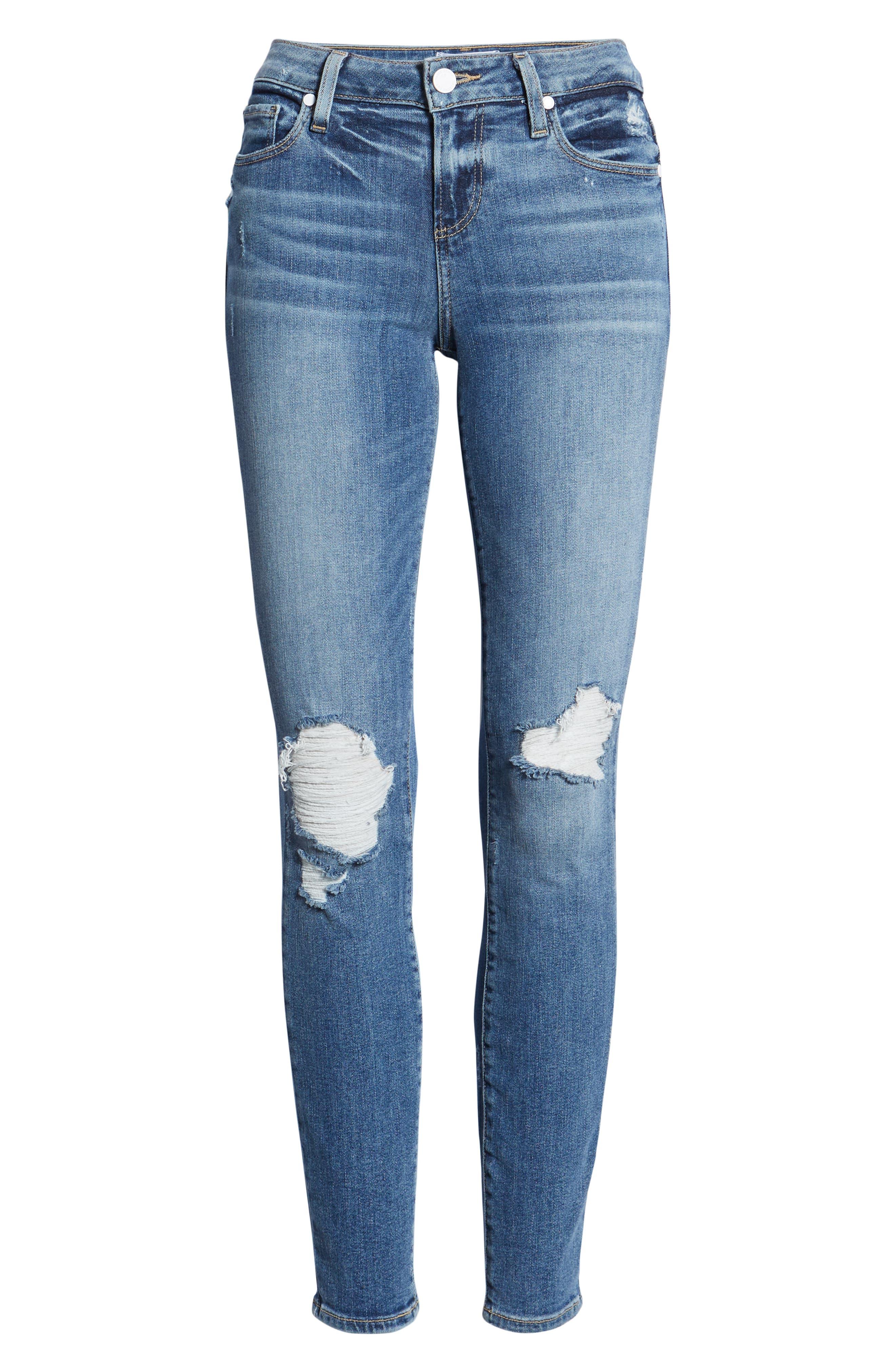 PAIGE, Verdugo Transcend Vintage Ripped Ankle Skinny Jeans, Alternate thumbnail 4, color, EMBARCADERO DESTRUCTED