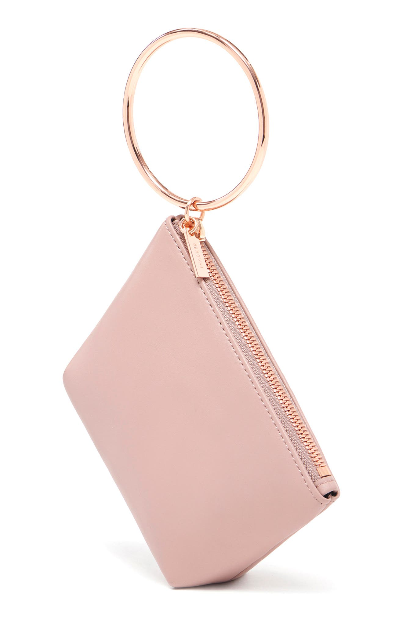 THACKER, Small Ring Leather Pouch, Alternate thumbnail 4, color, SANDSTONE/ ROSEGOLD