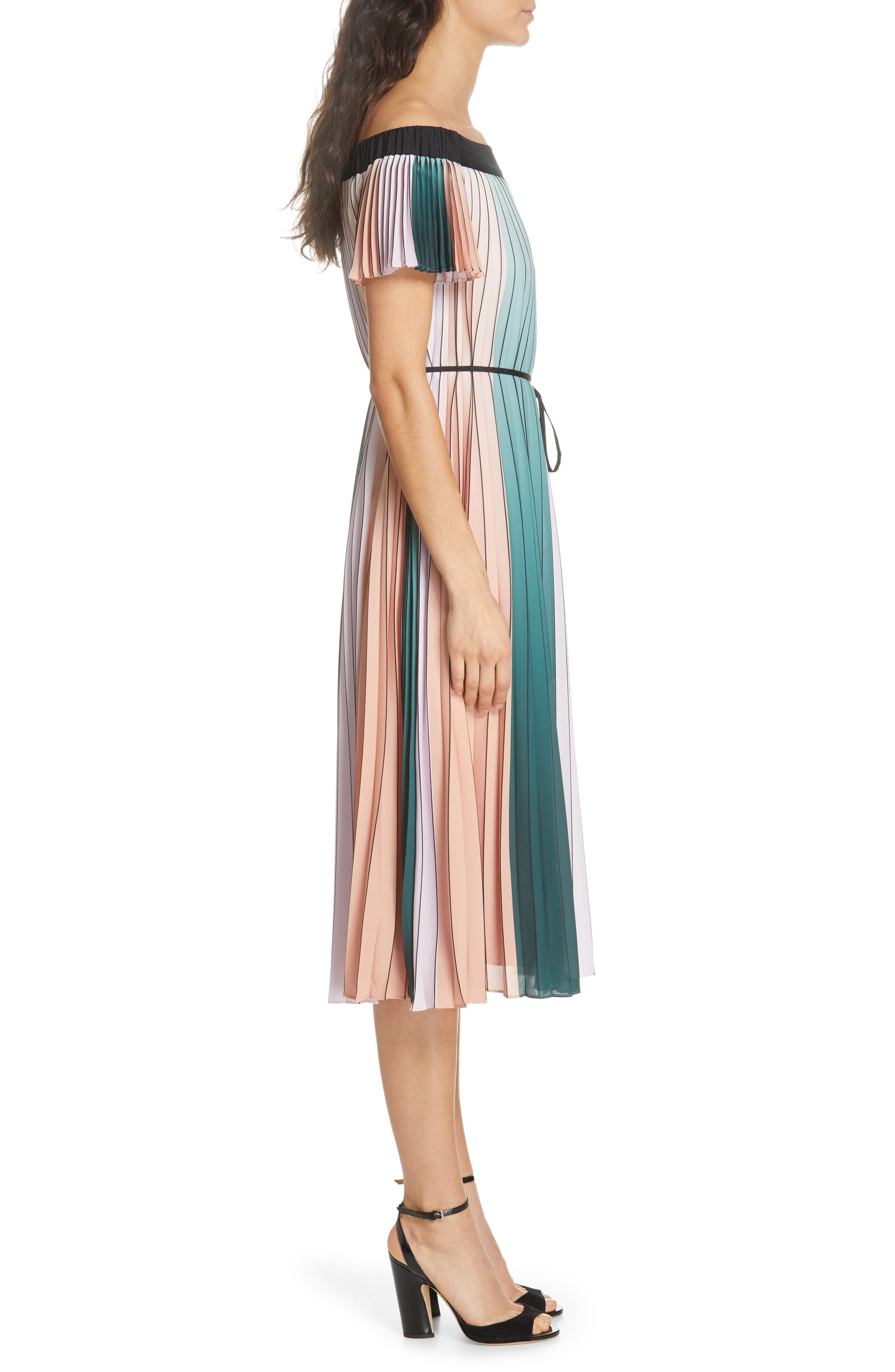 TED BAKER LONDON, Fernee Colorblock Pleated Dress, Alternate thumbnail 4, color, LILAC