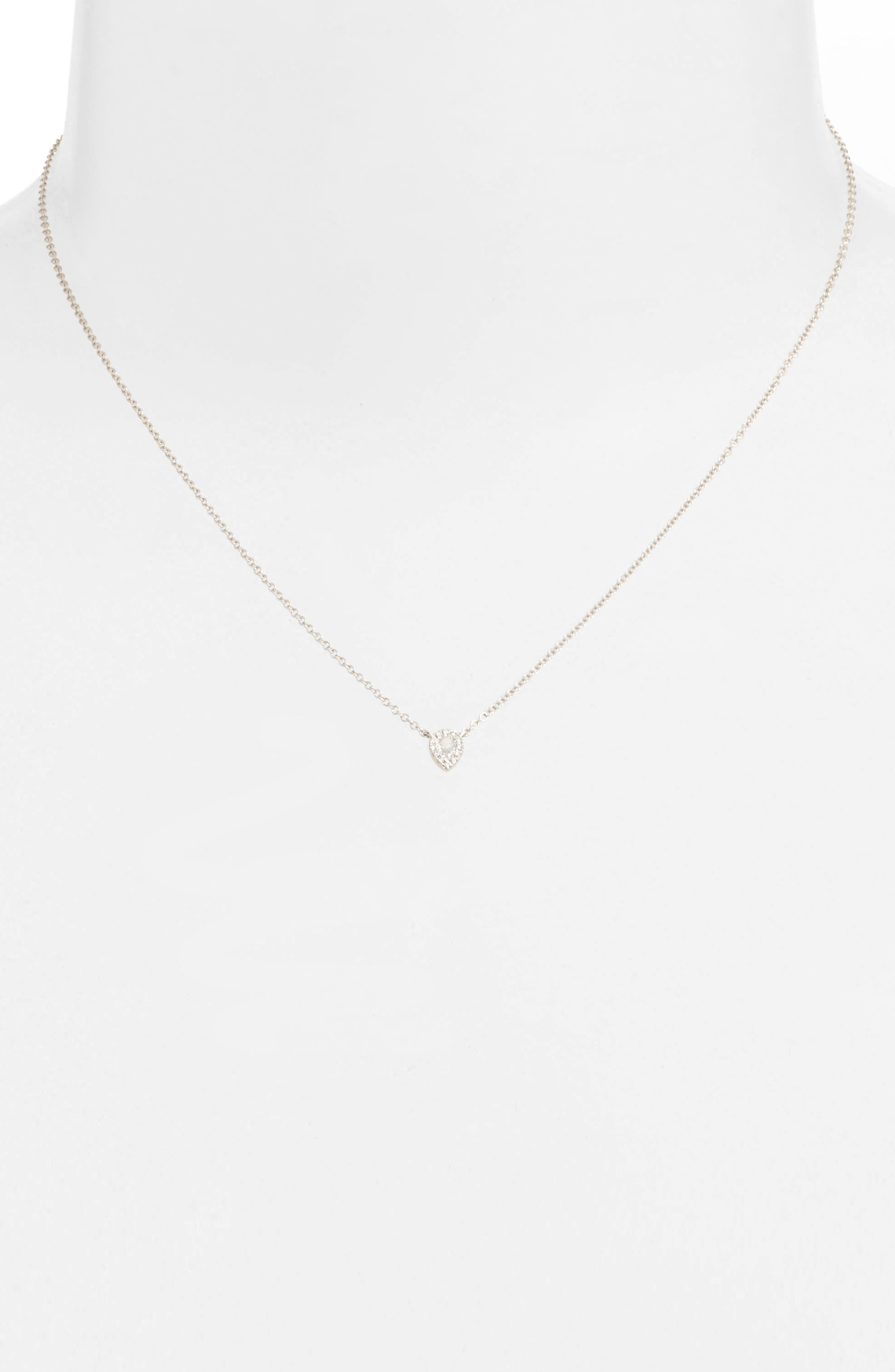 EF COLLECTION, Diamond & Topaz Teardrop Pendant Necklace, Alternate thumbnail 2, color, WHITE GOLD