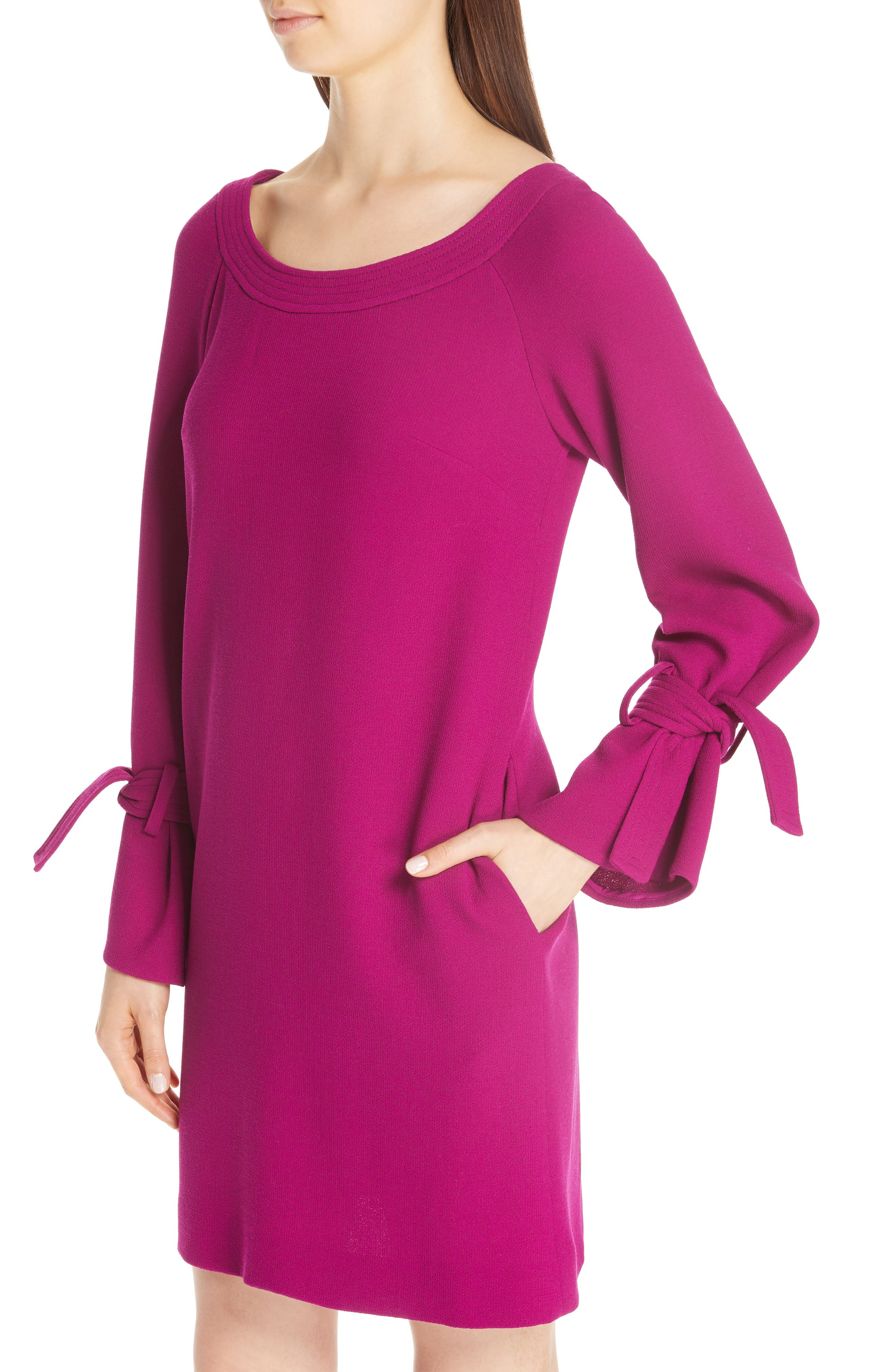 LELA ROSE, Tie Cuff Wool Blend Crepe Shift Dress, Alternate thumbnail 4, color, MAGENTA
