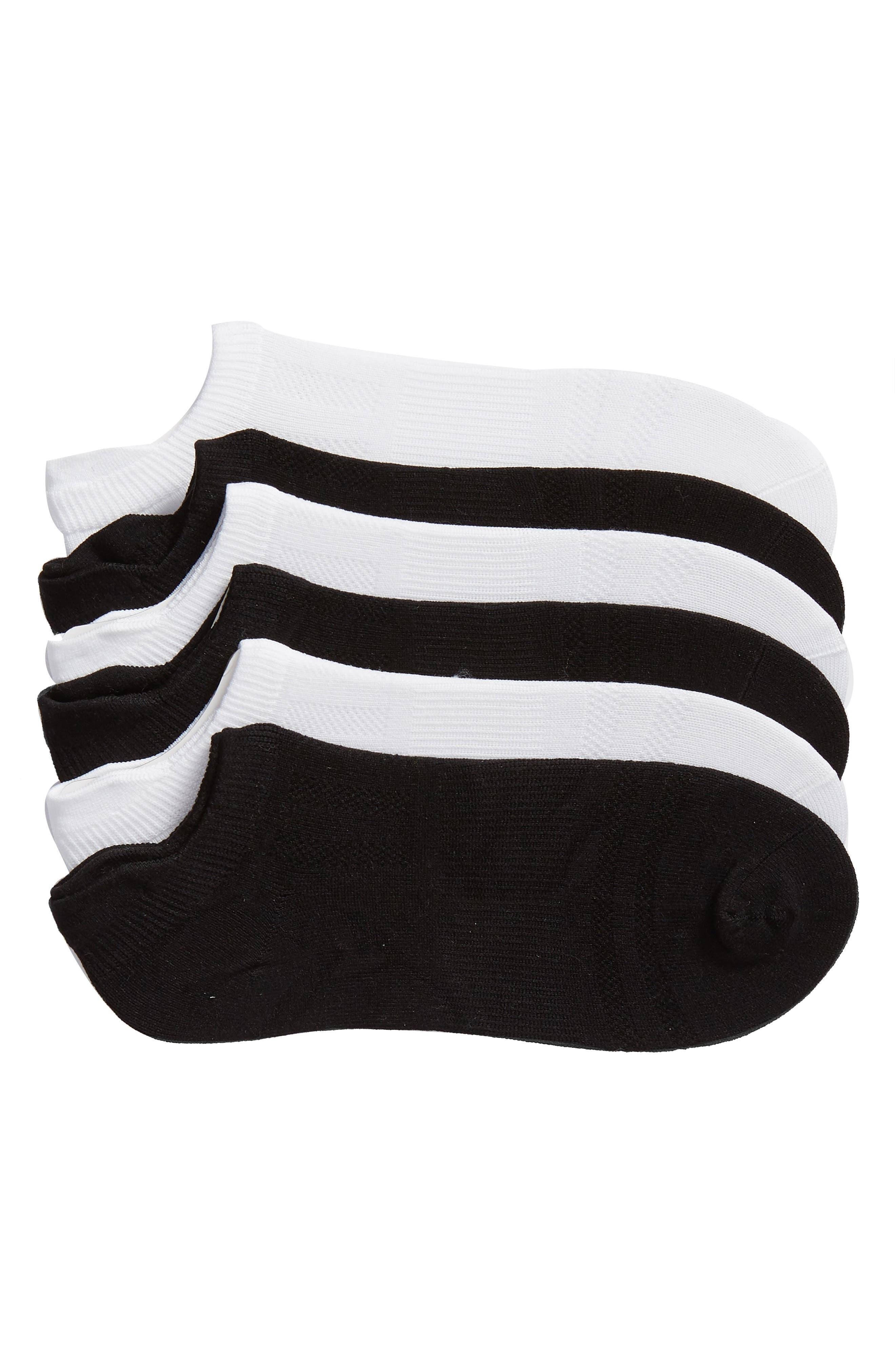 SOF SOLE, 6-Pack Low Cut Socks, Main thumbnail 1, color, WHITE/ BLACK