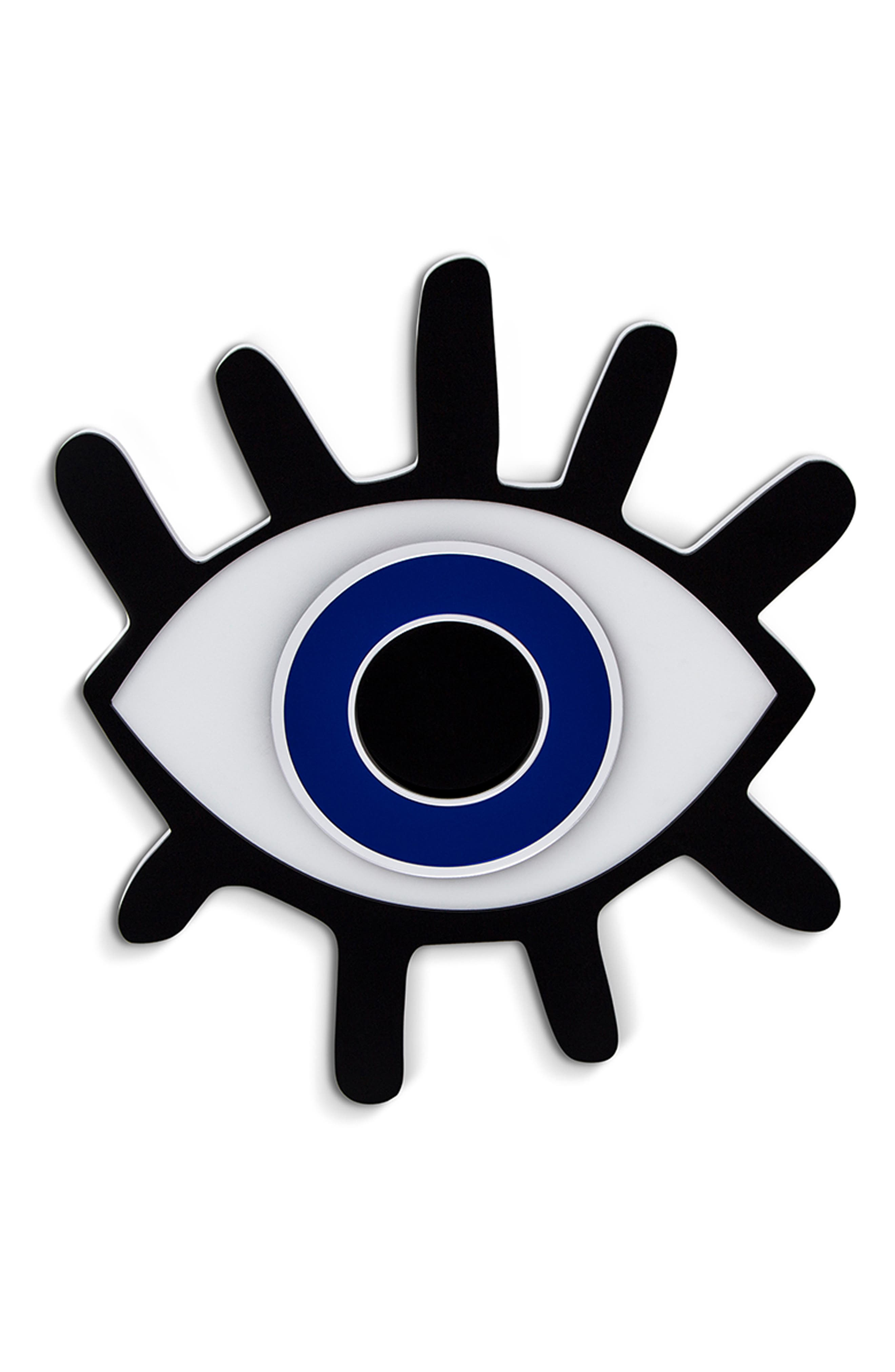 SECTIS DESIGN, Lashed Evil Eye Wall Art, Main thumbnail 1, color, BLUE BLACK AND WHITE
