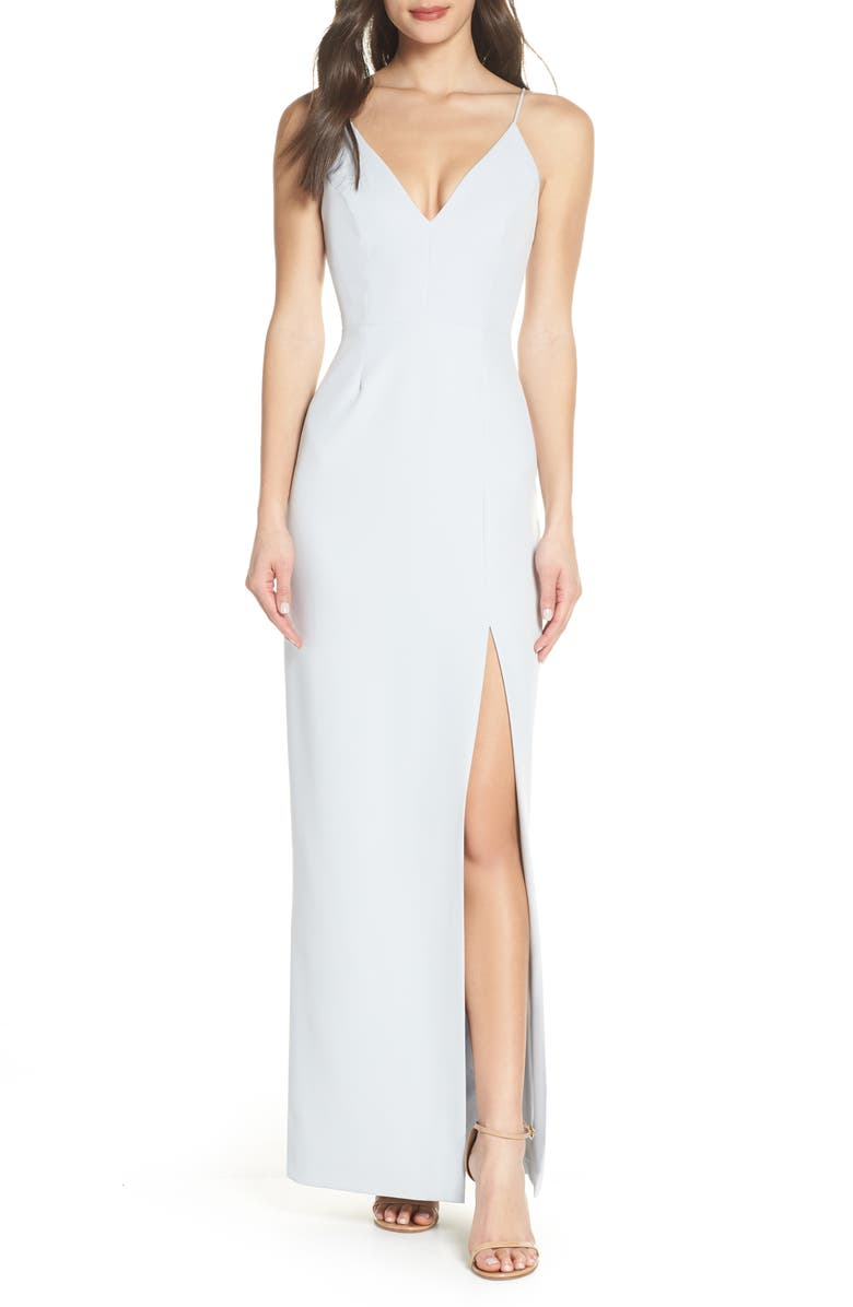 Wayf Dresses THE MAISLE V-NECK SCUBA CREPE EVENING DRESS