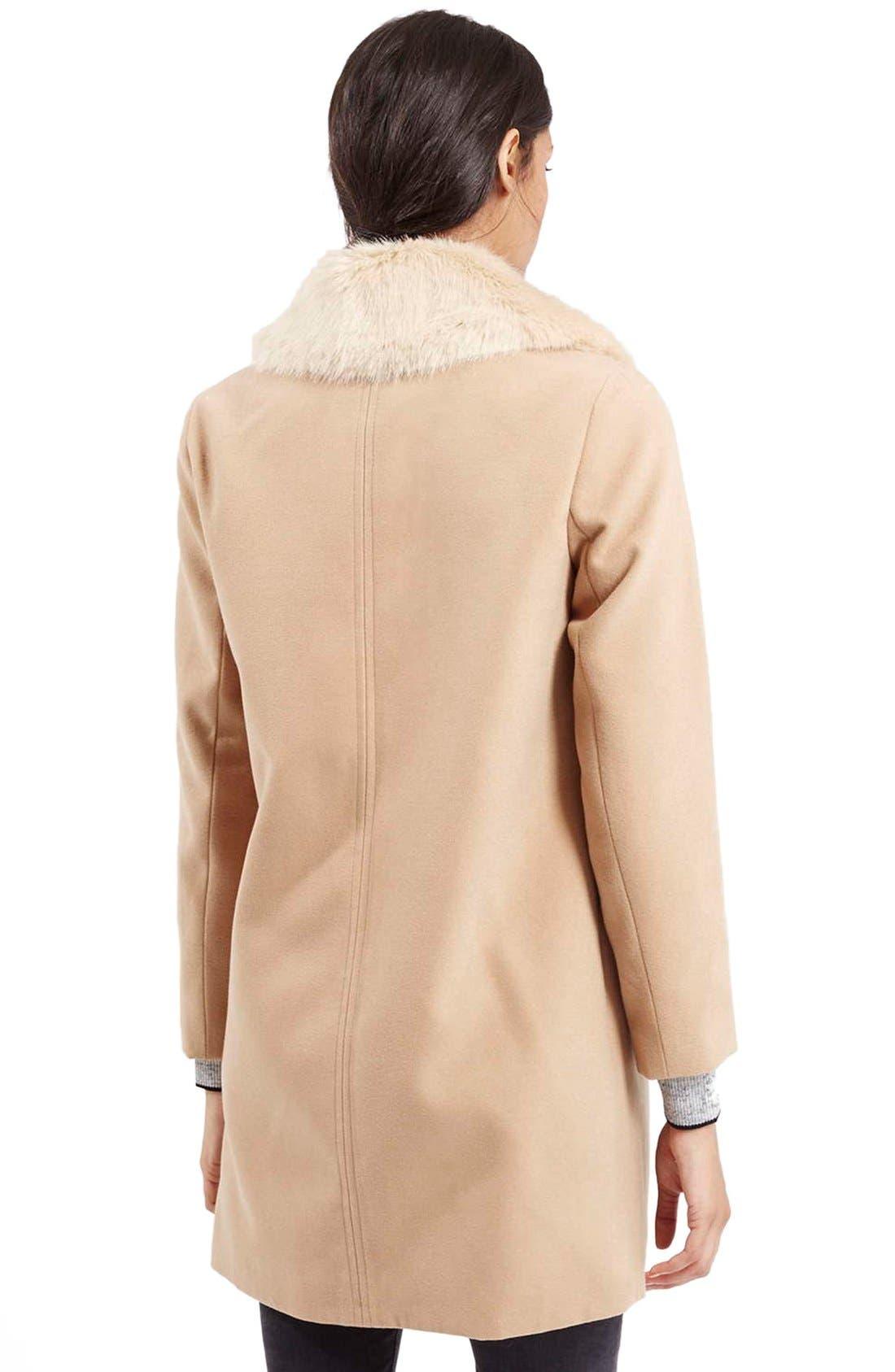 TOPSHOP, 'Mia' FauxFur CollarSlim Fit Coat, Alternate thumbnail 5, color, 252