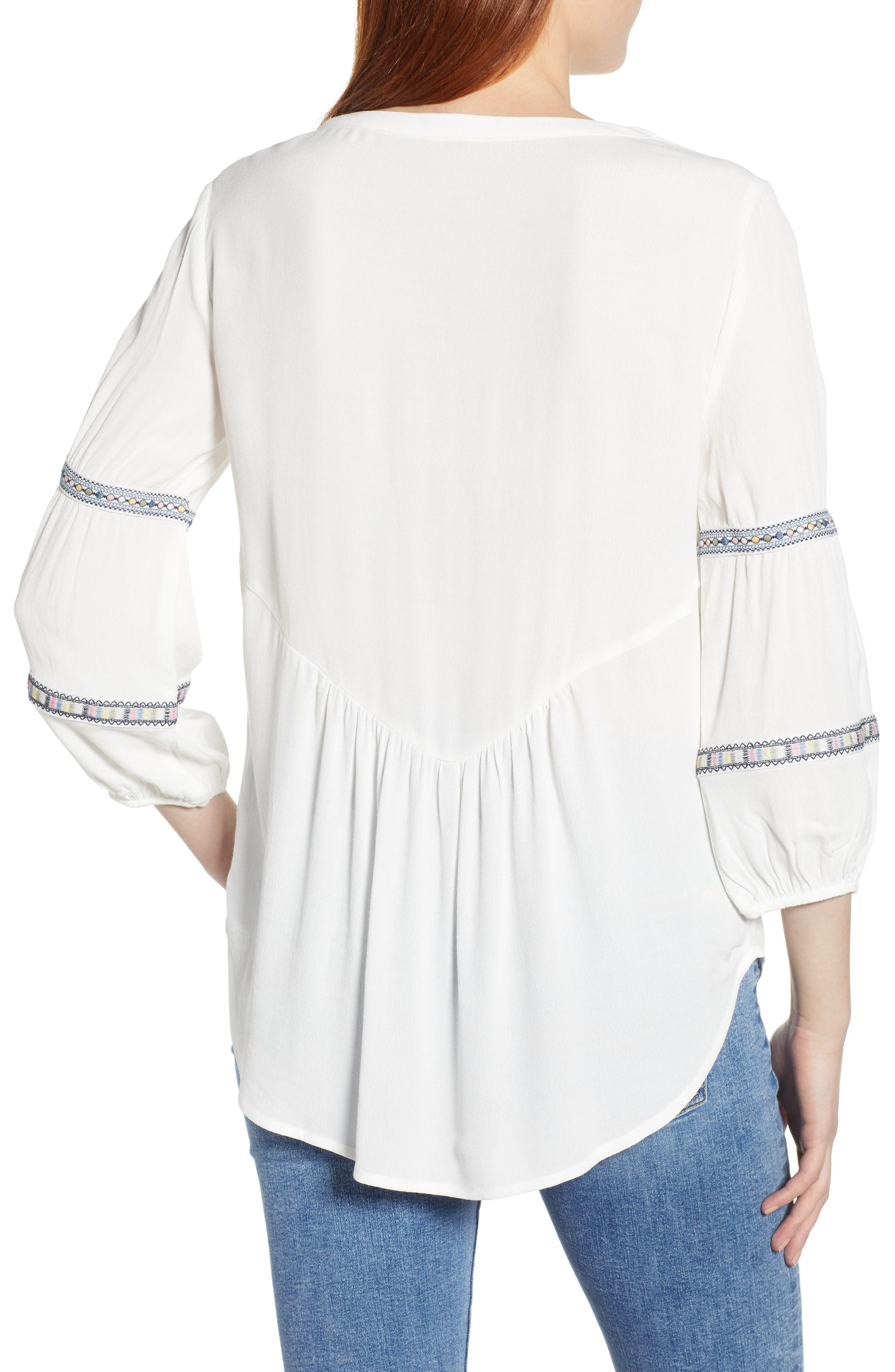 WIT & WISDOM, Embroidered Tunic, Alternate thumbnail 2, color, OFF WHITE