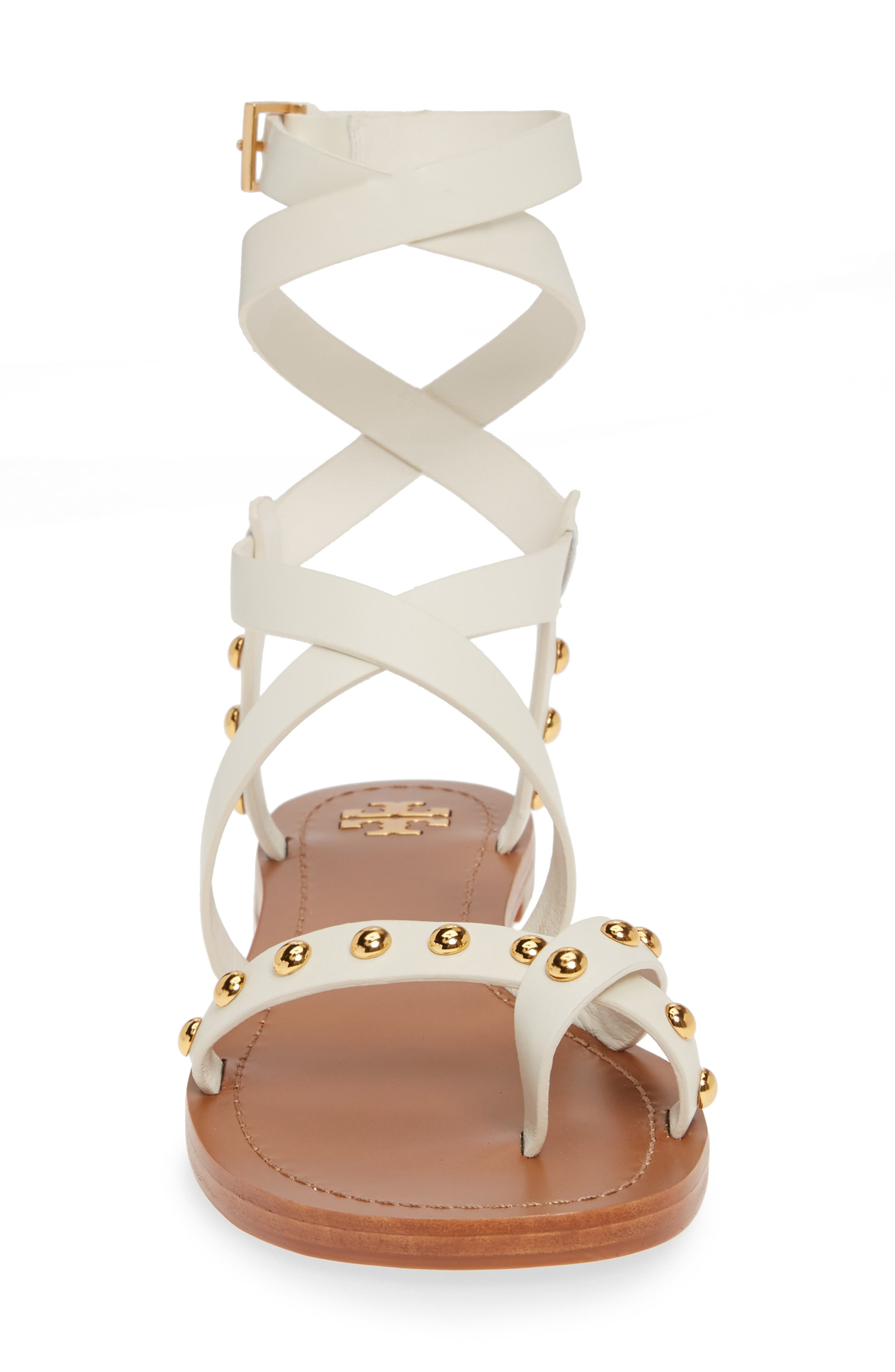 TORY BURCH, Ravello Studded Cage Sandal, Alternate thumbnail 4, color, PERFECT IVORY