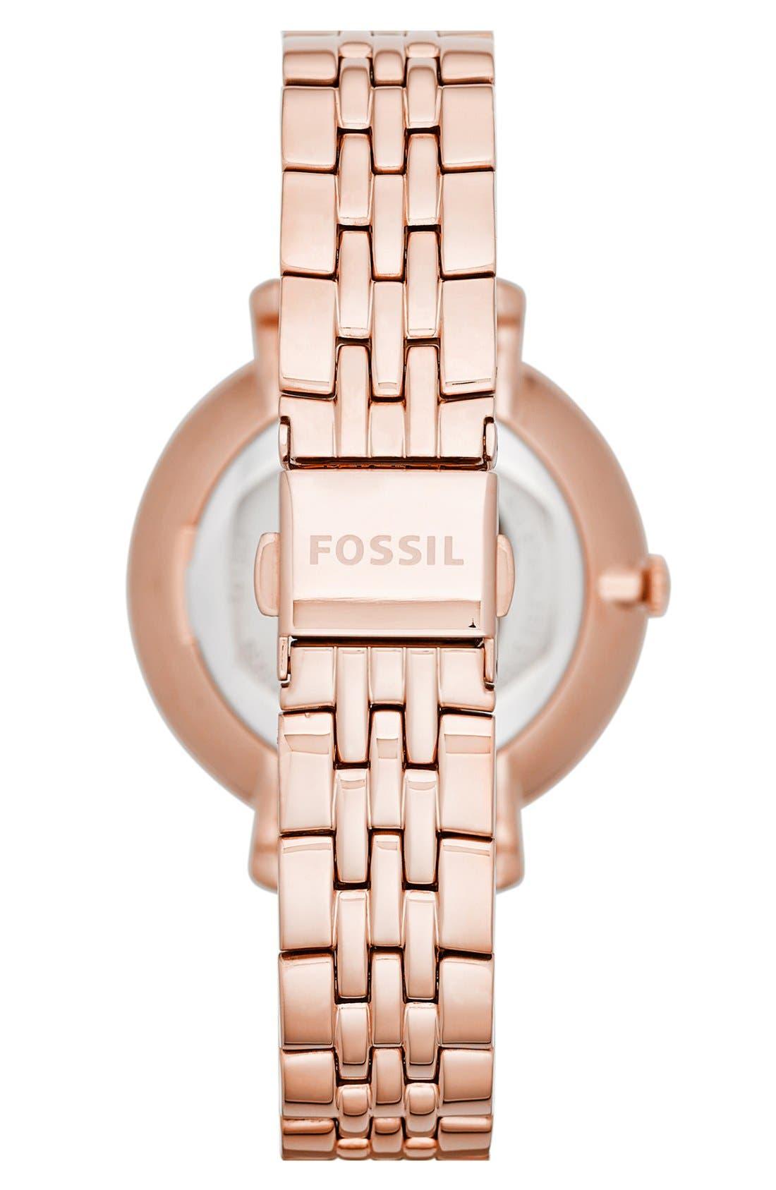 FOSSIL, 'Jacqueline' Round Bracelet Watch, 36mm, Alternate thumbnail 2, color, ROSE GOLD
